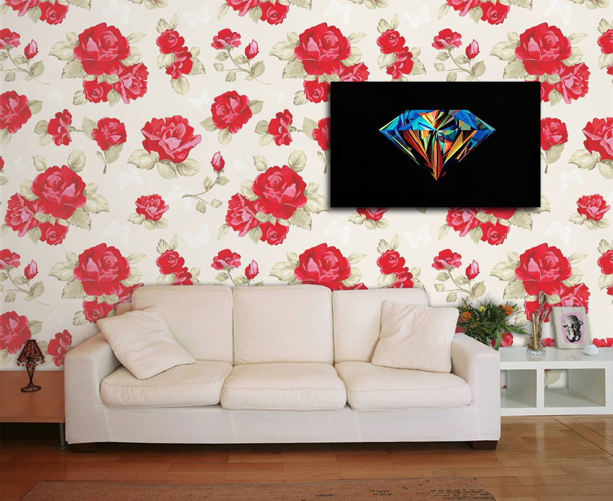 Papel de Parede Floral 0074 - Adesivos de Parede  - Paredes Decoradas
