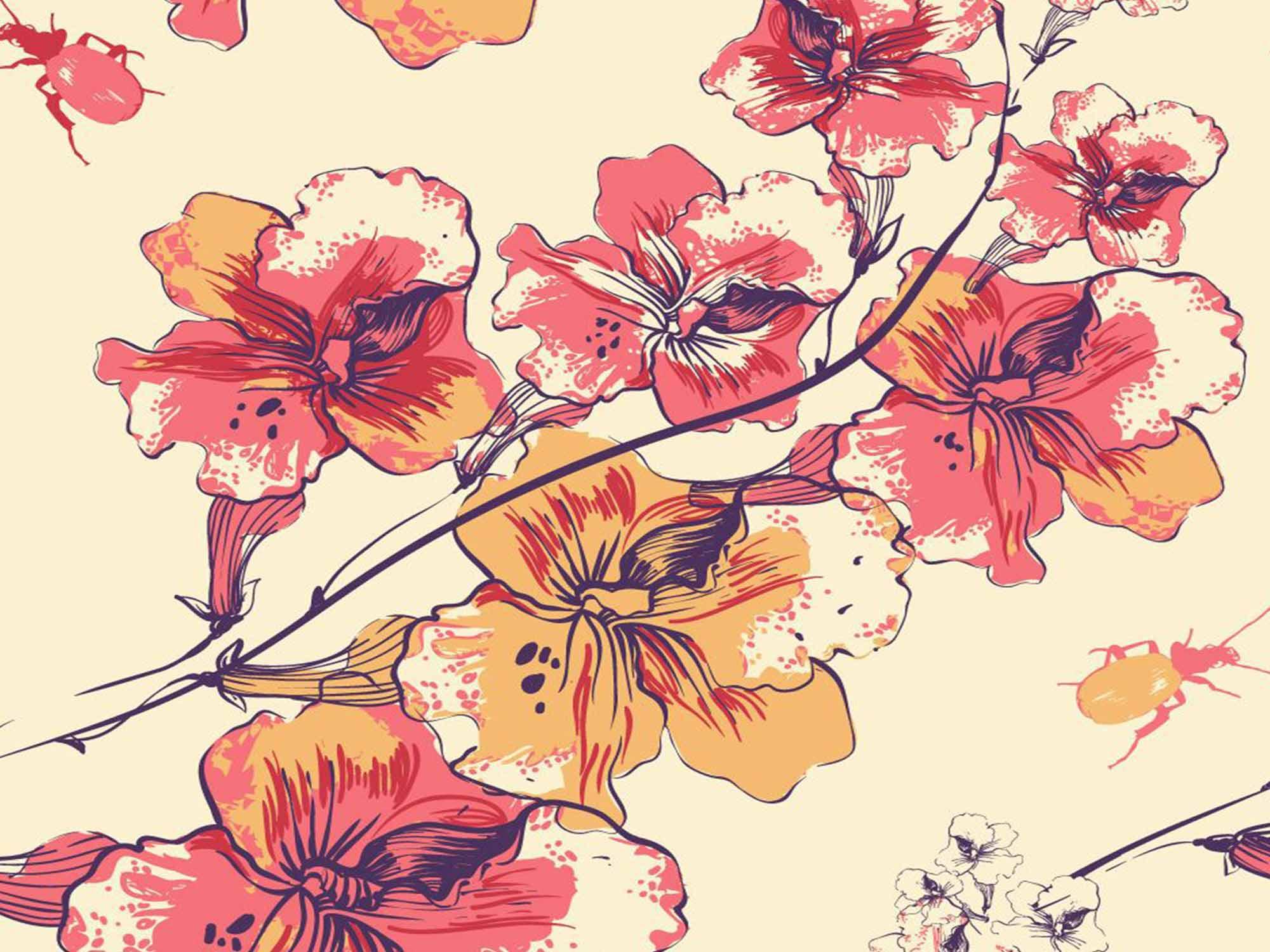 Papel de Parede Floral 0078 - Adesivos de Parede  - Paredes Decoradas