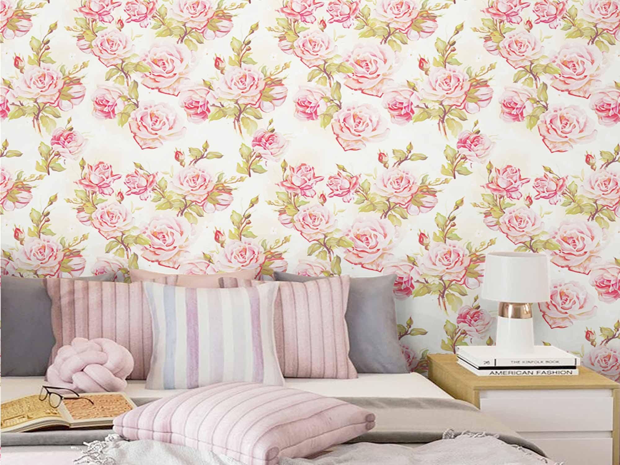 Papel de Parede Floral 0091 (Rolo 3m x 59cm) - PROMOÇÃO  - Paredes Decoradas