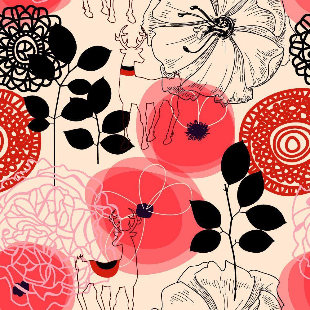 Papel de Parede Floral 0101 - Adesivos de Parede  - Paredes Decoradas