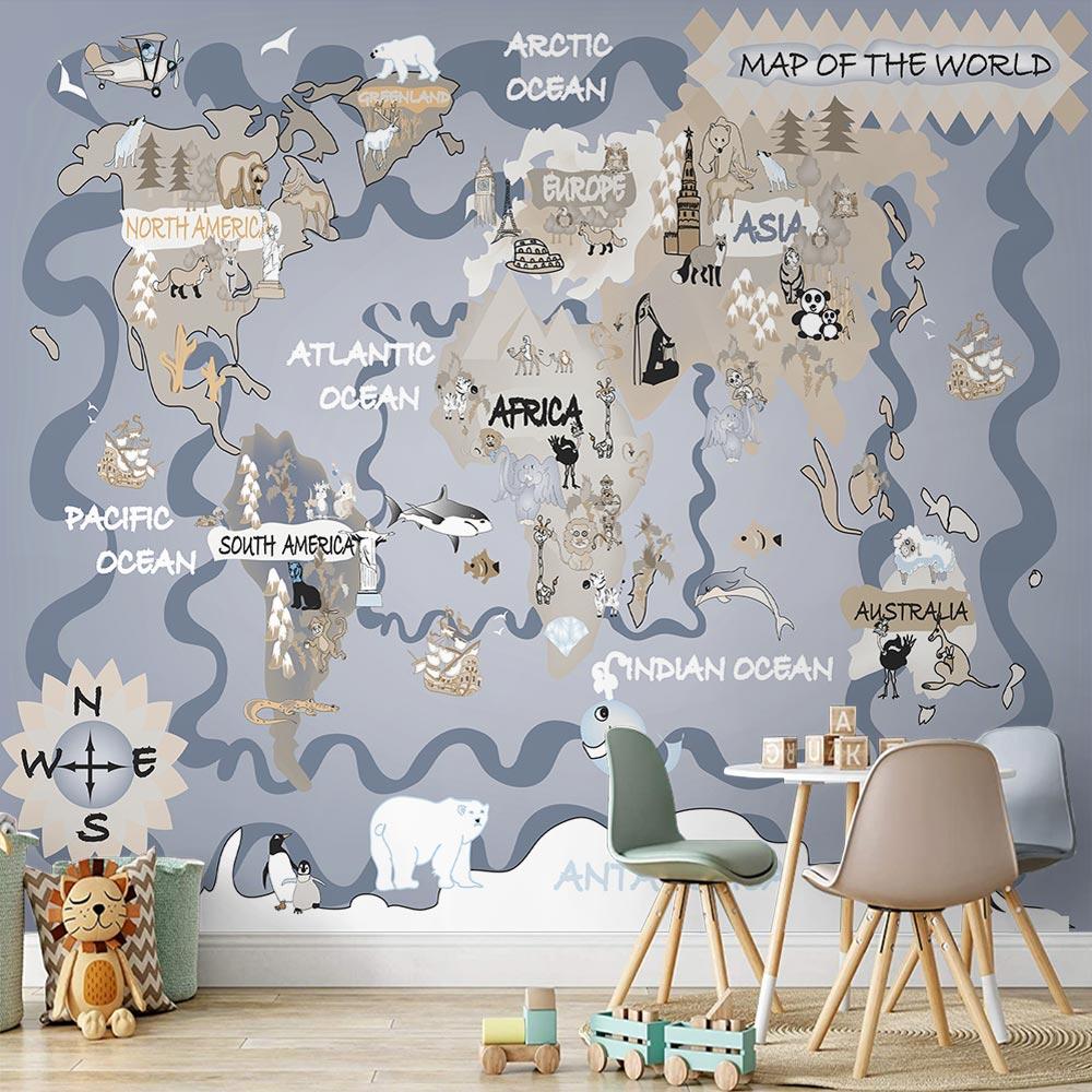 Papel de Parede Infantil Adesivo 3D Mapa Mundi 0005