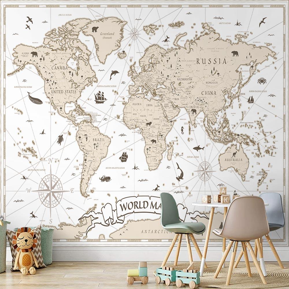 Papel de Parede Infantil Adesivo 3D Mapa Mundi 0009