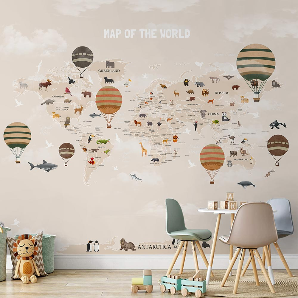 Papel de Parede Infantil Adesivo 3D Mapa Mundi 0013