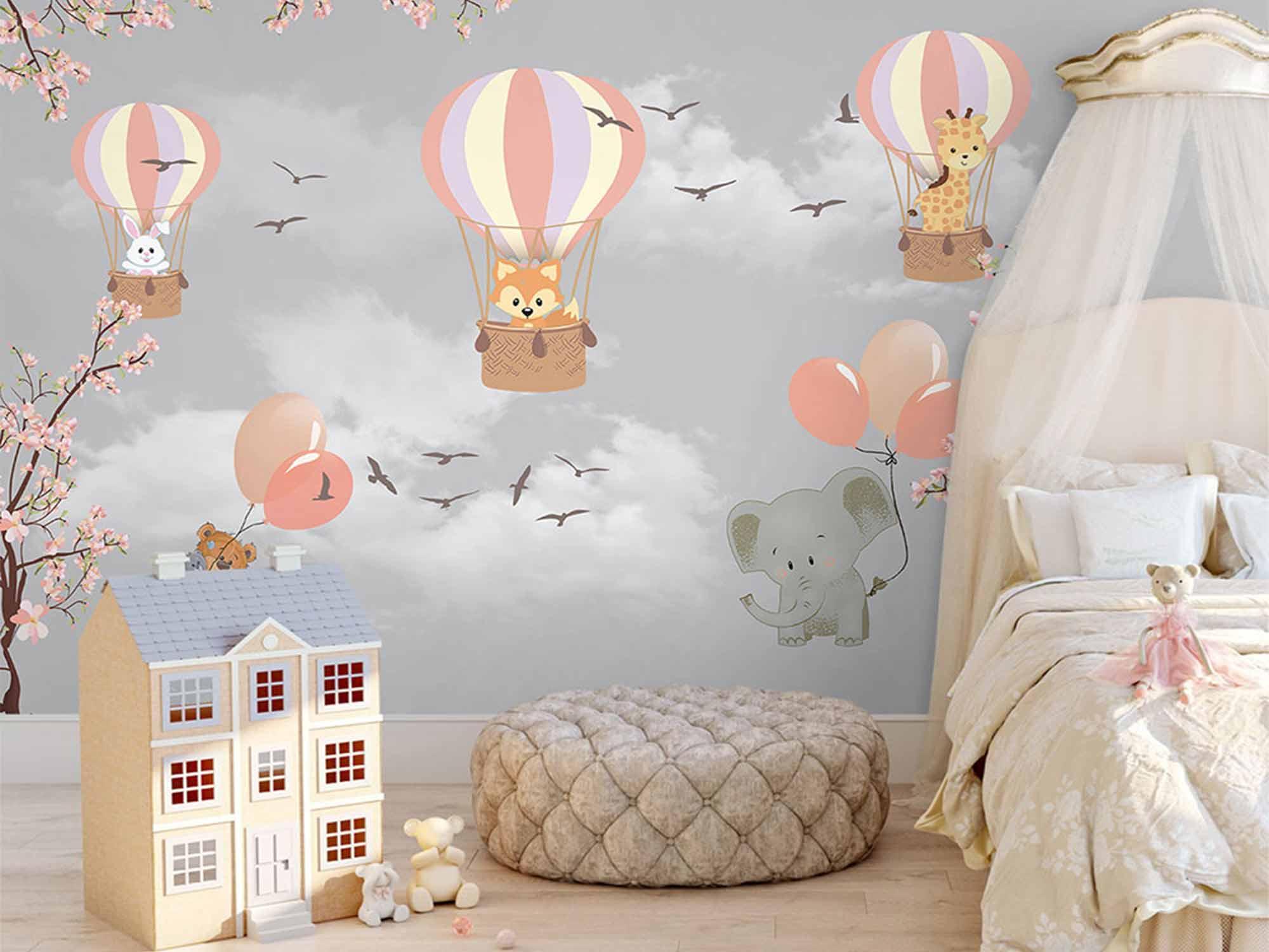 Papel de Parede Infantil Balões 0003 - Adesivo de Parede