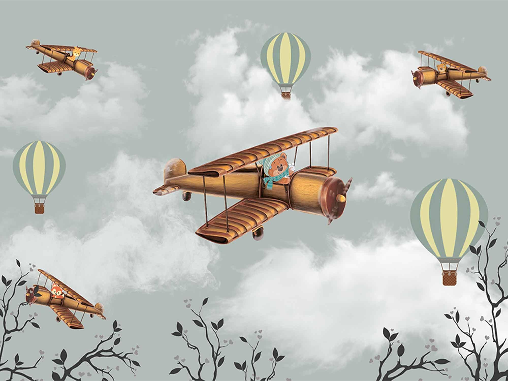 Papel de Parede Infantil Balões 0004 - Adesivo de Parede  - Paredes Decoradas
