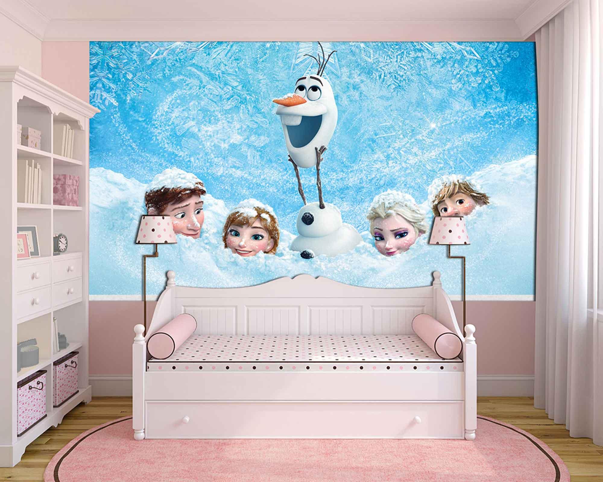Papel de Parede Infantil Frozen 0002 - Papel de Parede para Quarto  - Paredes Decoradas