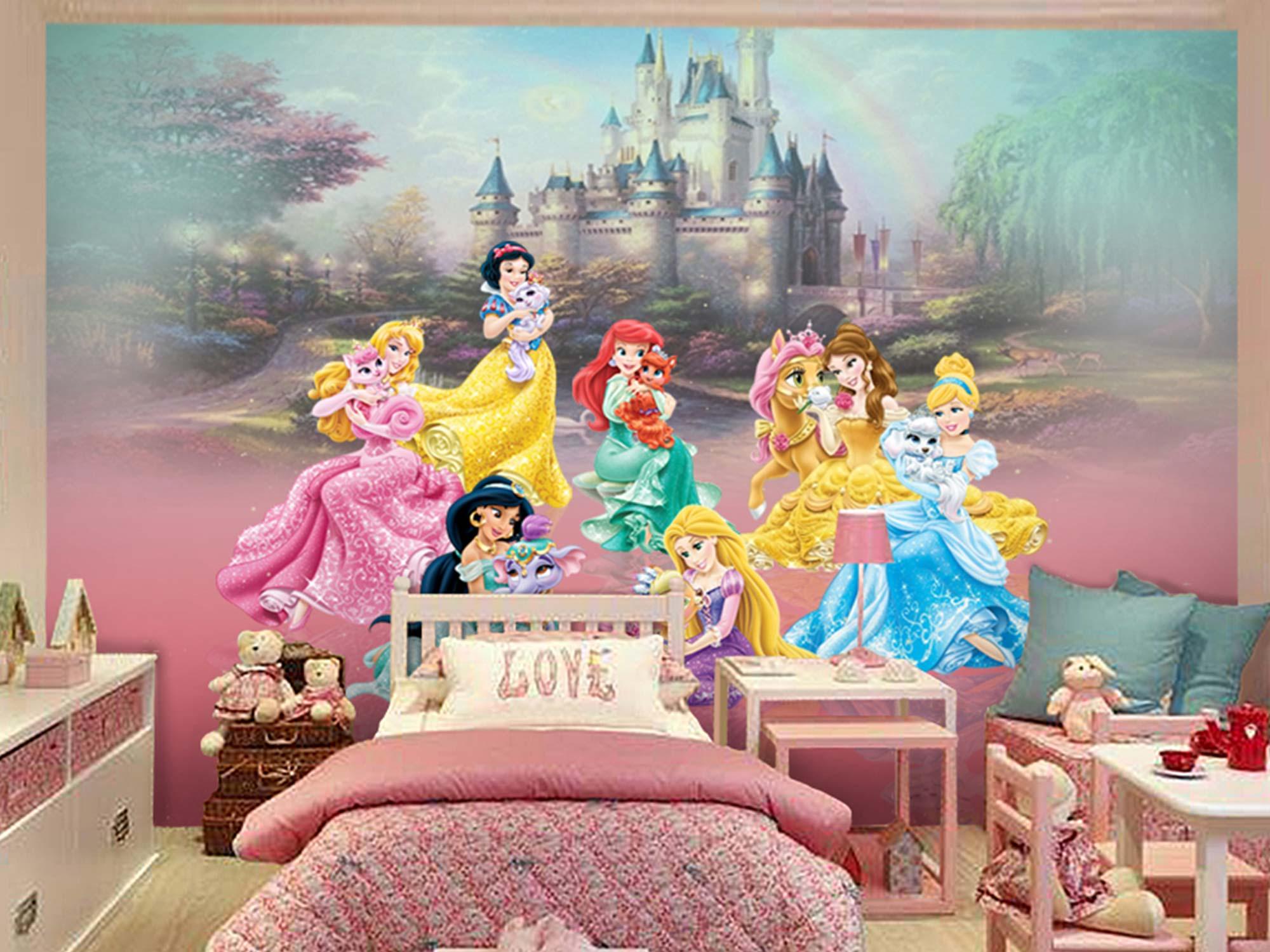 Papel de Parede Infantil Princesas 0001 - Papel de Parede para Quarto Feminino