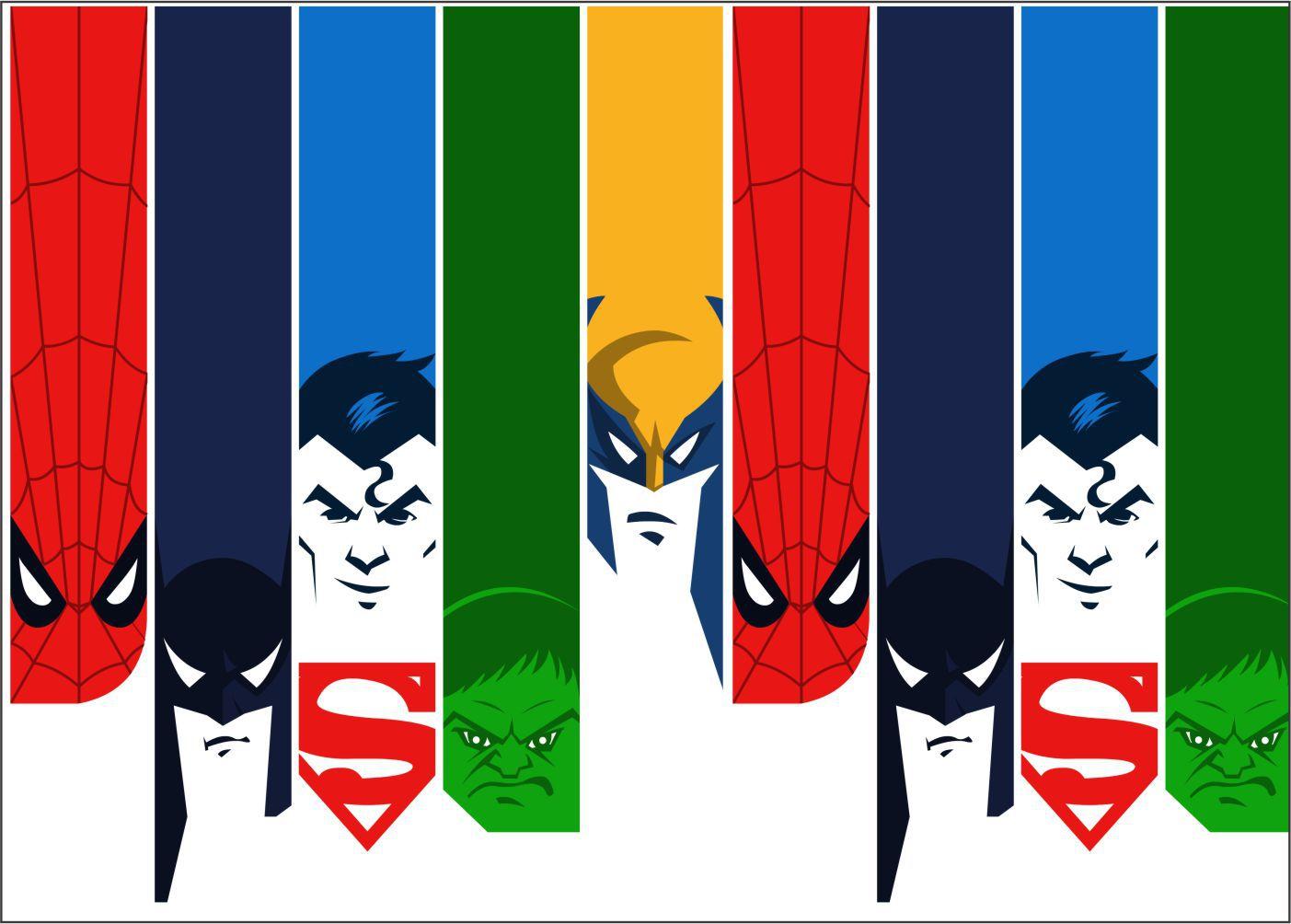 Papel de Parede Infantil Super Heróis 0001 -Adesivos de Parede
