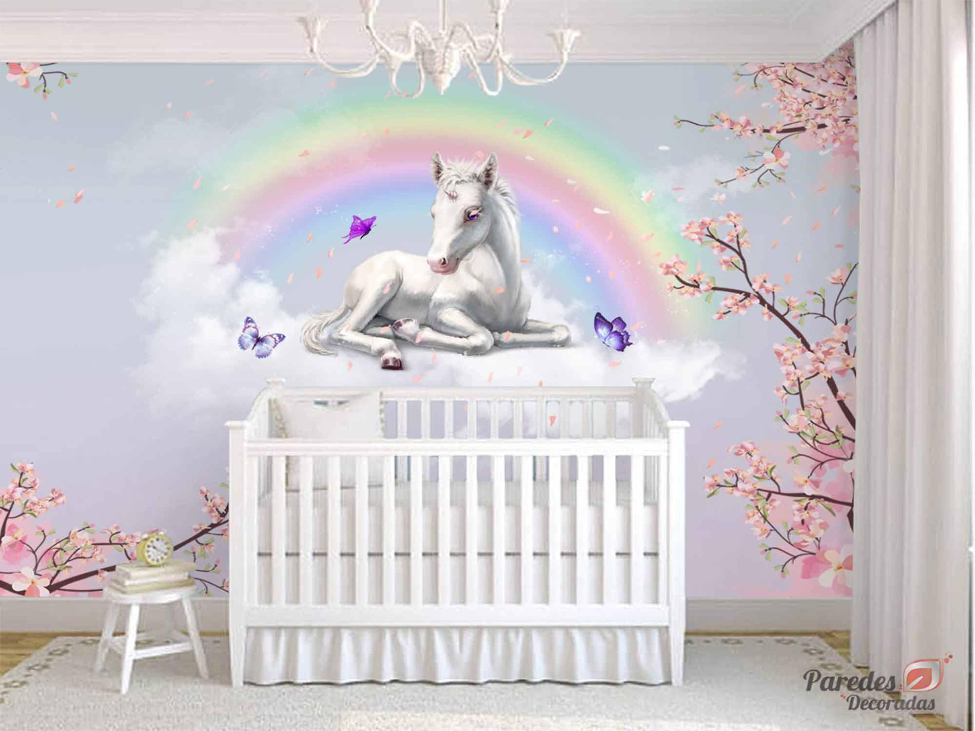 Papel de Parede Infantil Unicórnio 0001 - Papel de Parede para Quarto Feminino
