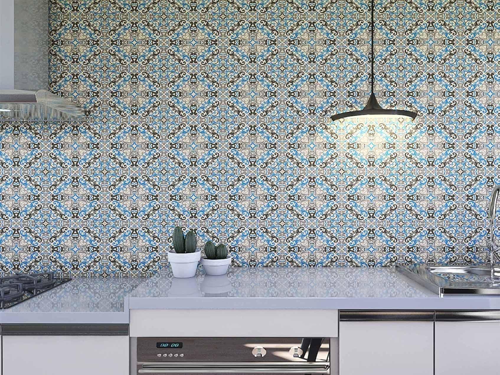Papel de Parede para Cozinha Azulejos 0016 - Adesivos de Parede  - Paredes Decoradas