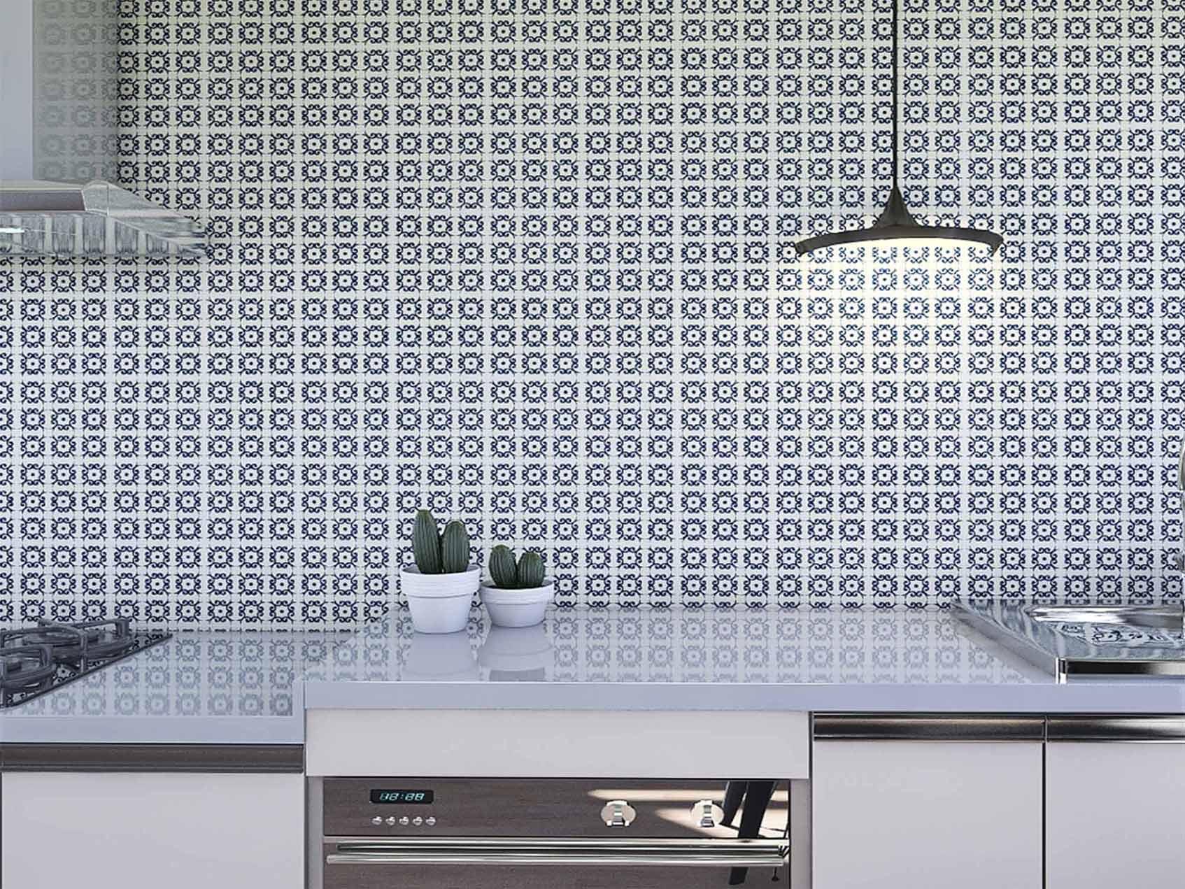 Papel de Parede para Cozinha Azulejos 0043 - Adesivos de Parede  - Paredes Decoradas