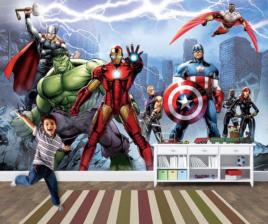 Papel de Parede para Quarto Infantil Super Heróis 0039  - Paredes Decoradas