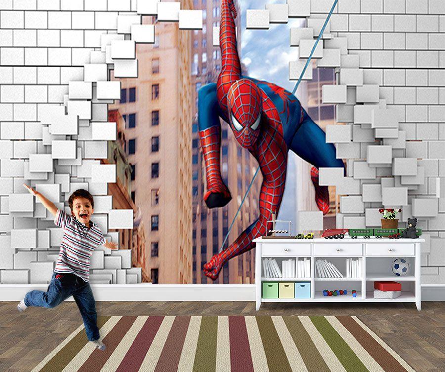 Papel de Parede para Quarto Infantil Super Heróis 0045  - Paredes Decoradas