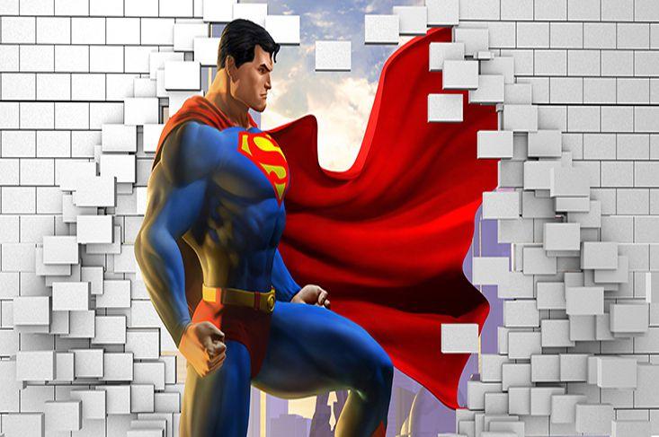 Papel de Parede para Quarto Infantil Super Heróis 0046  - Paredes Decoradas