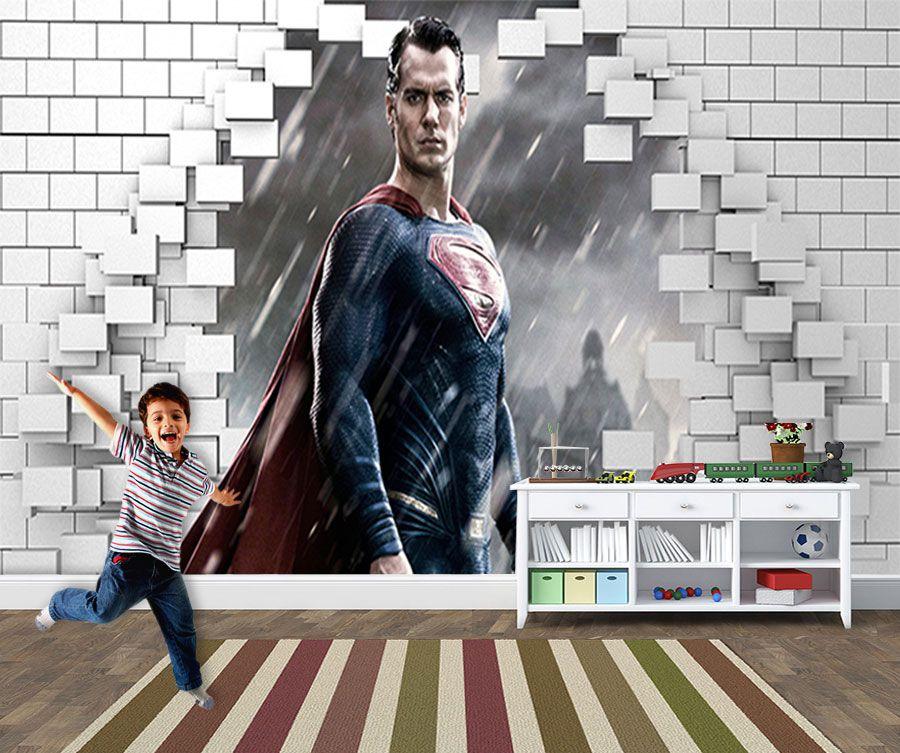 Papel de Parede para Quarto Infantil Super Heróis 0047  - Paredes Decoradas