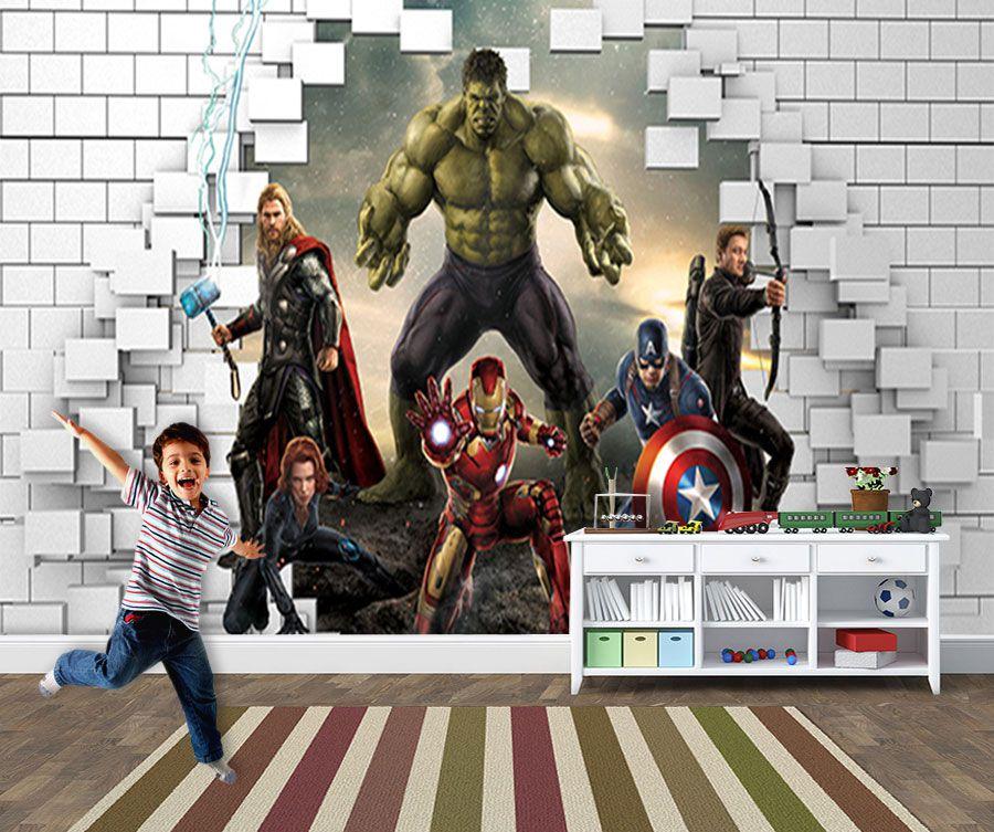 Papel de Parede para Quarto Infantil Super Heróis 0049  - Paredes Decoradas
