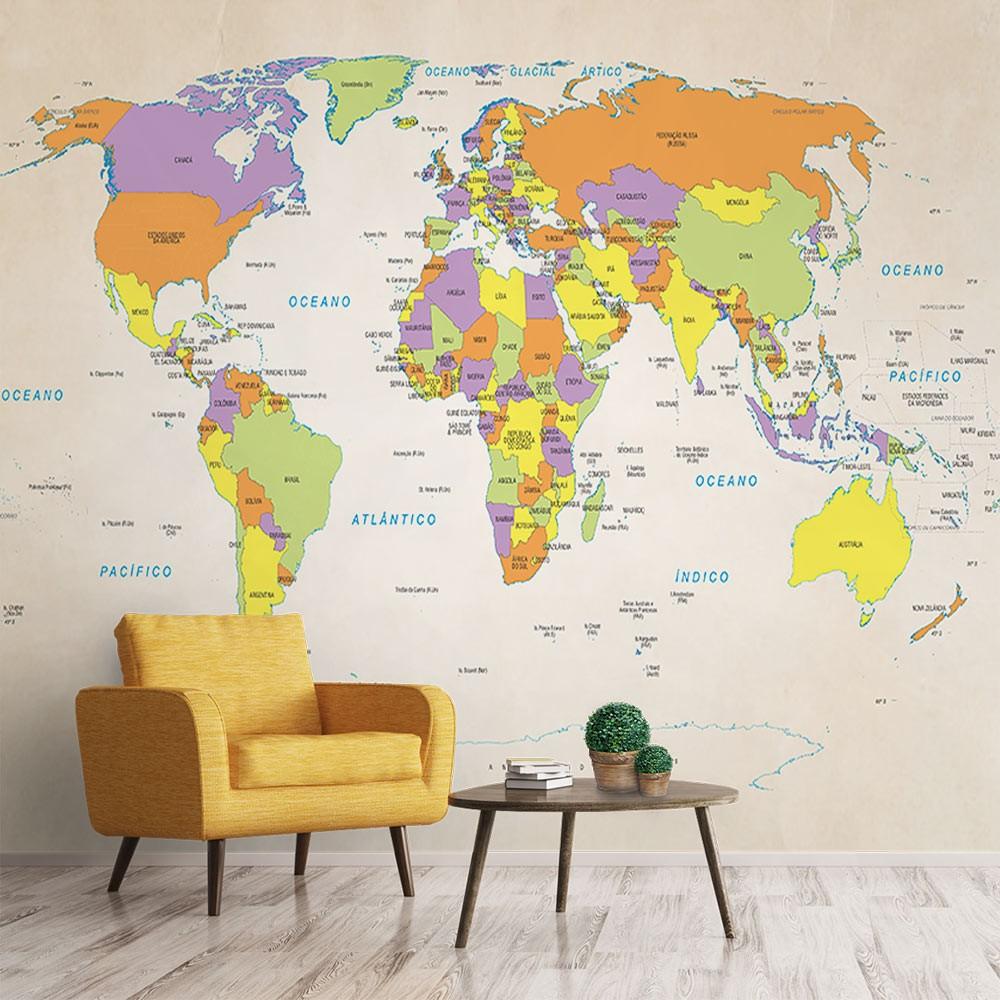 Papel de Parede para Sala Adesivo 3D Mapa Mundi 0001