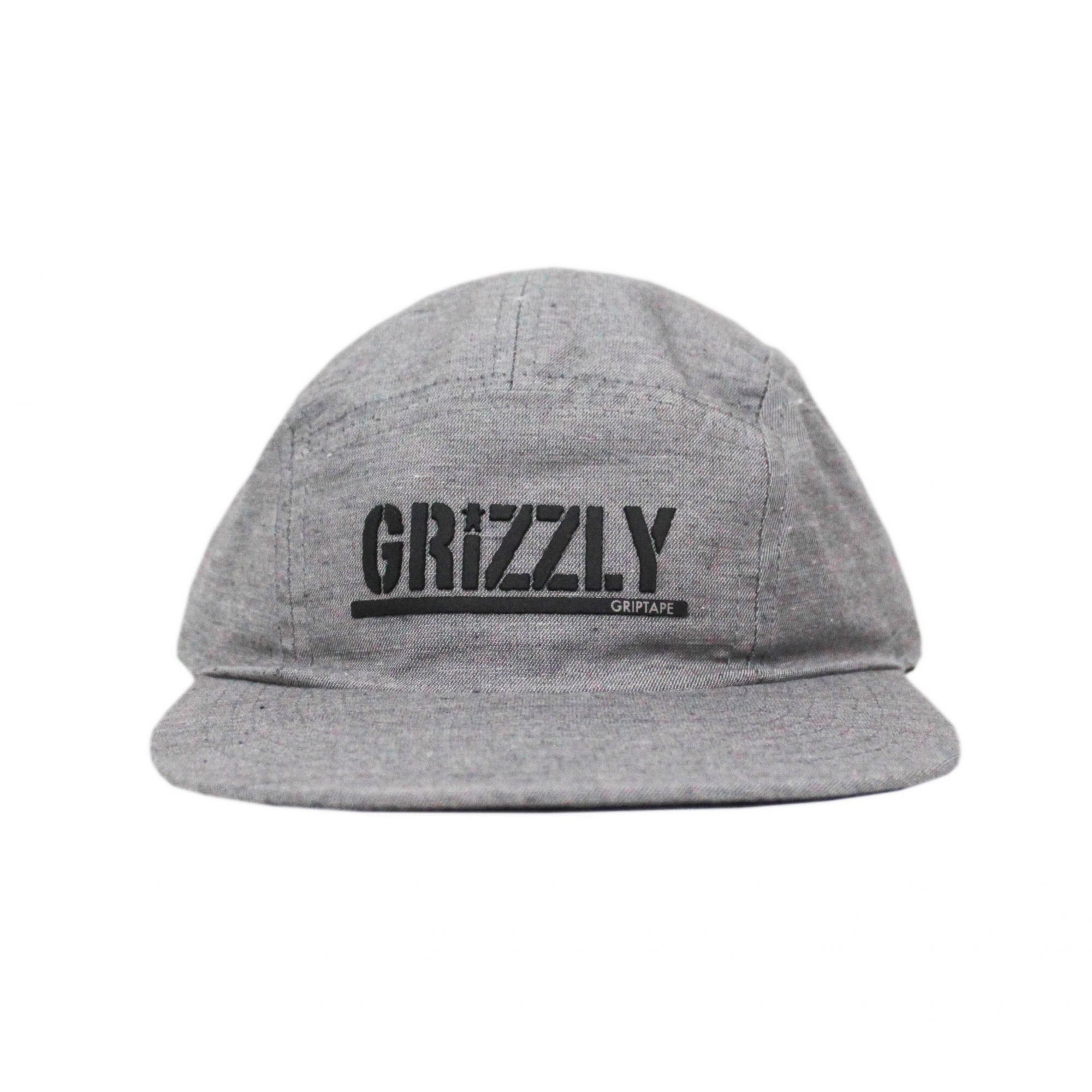 Boné Grizzly Five Panel Stamped Camper Unstructer Clip Cinza