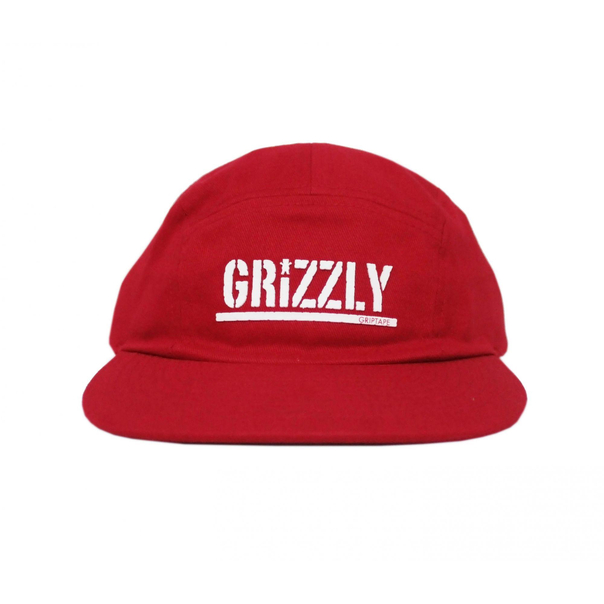 Boné Grizzly Five Panel Stamped Camper Unstructer Clip Vermelho