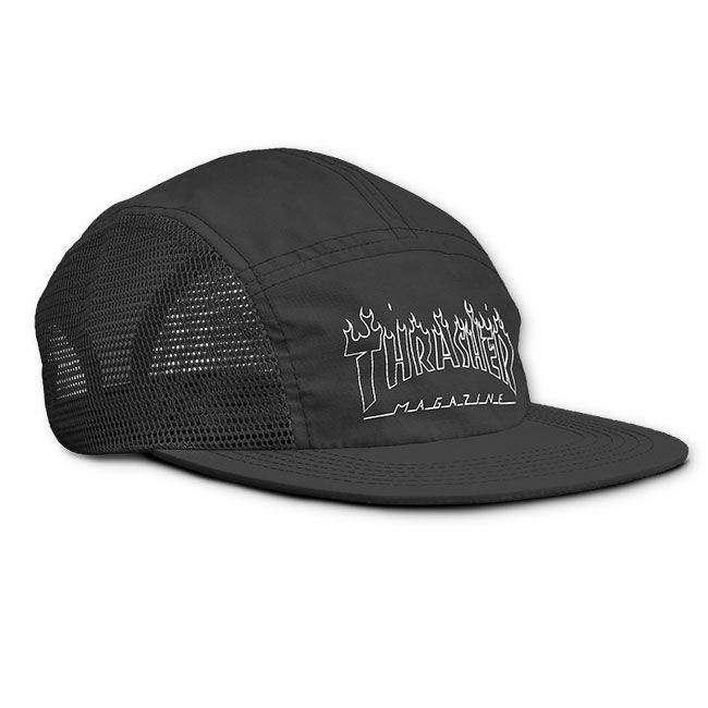 Boné Thrasher Magazine Five Panel Flame Outline Black
