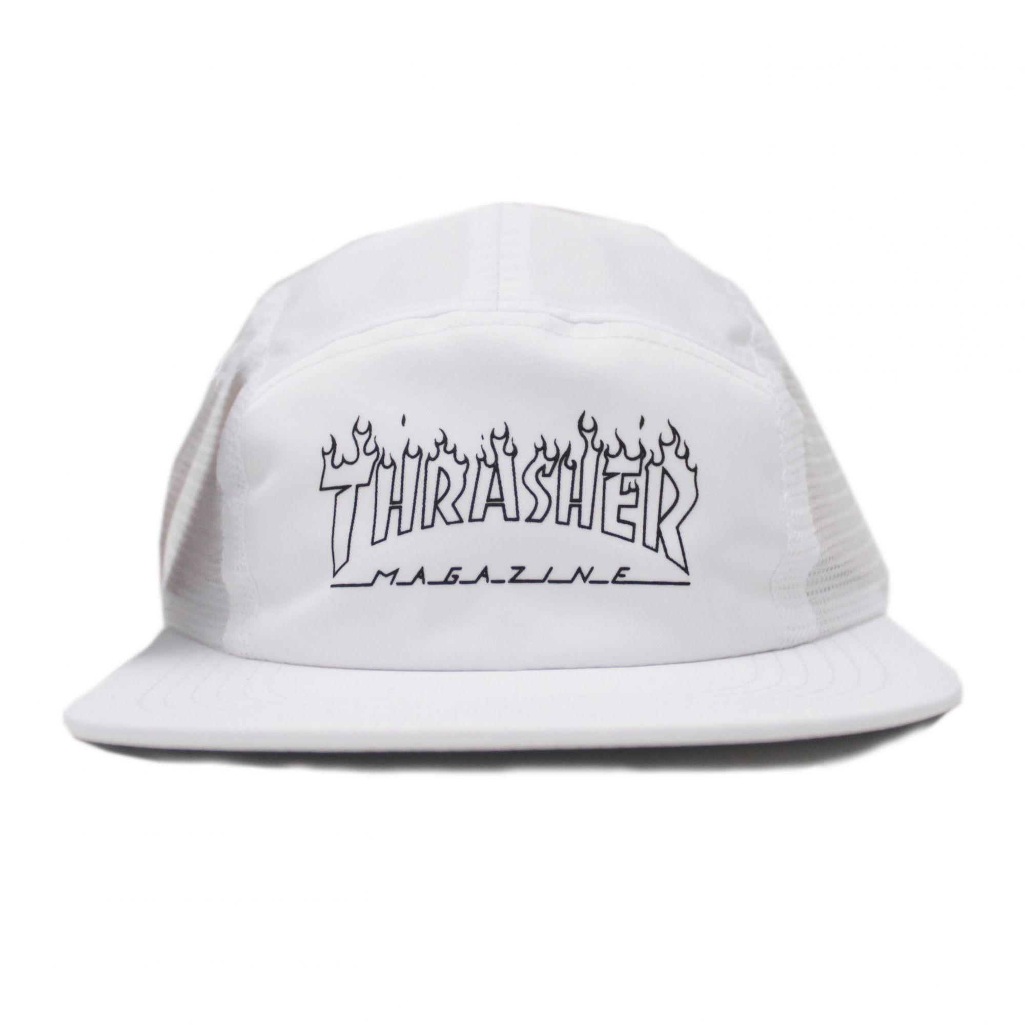 Boné Thrasher Magazine Five Panel Flame Outline Branco