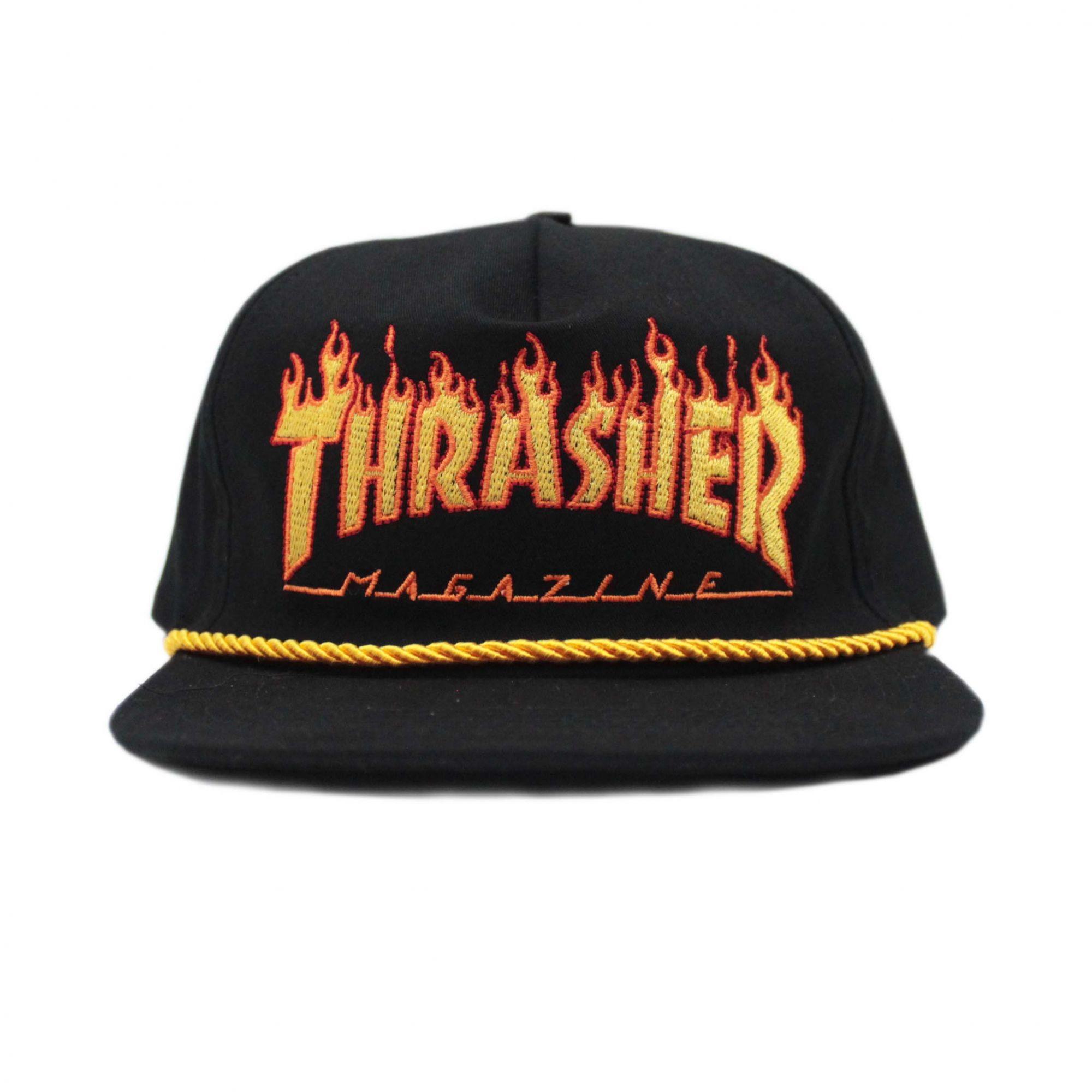 Boné Thrasher Magazine Snapback Flame Rope Preto