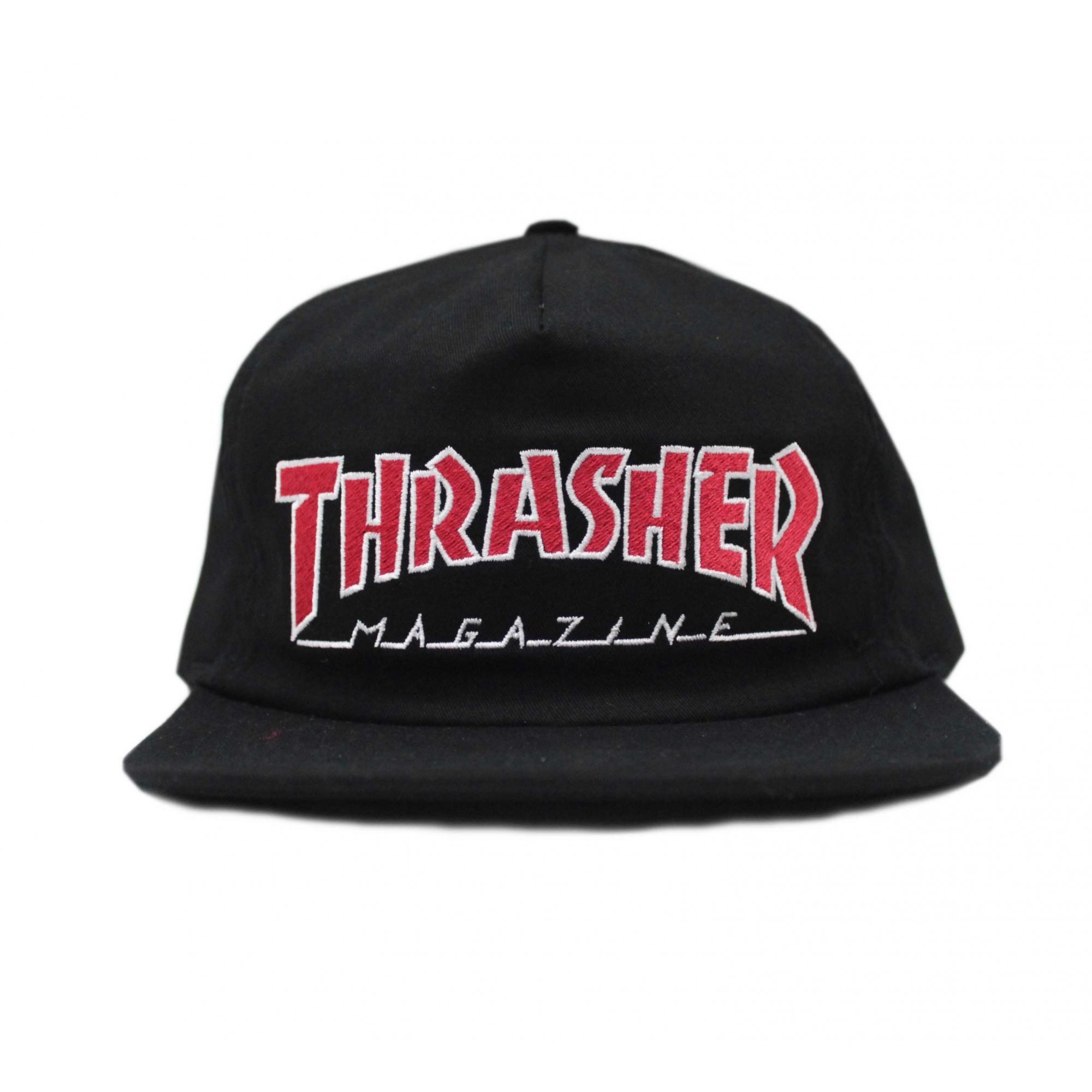 Boné Thrasher Magazine Snapback Outlined Preto