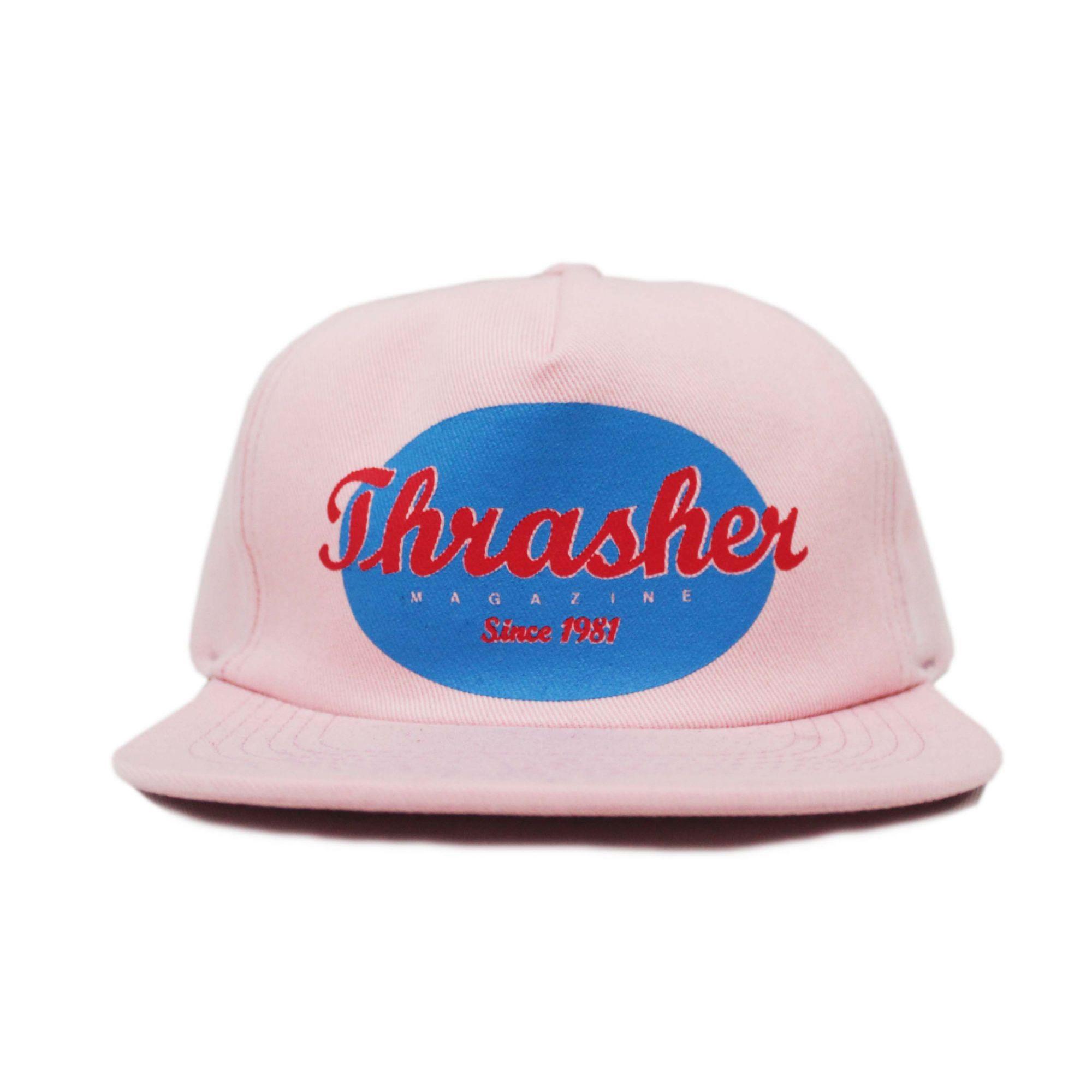 Boné Thrasher Magazine Snapback Oval Script Logo Rosa