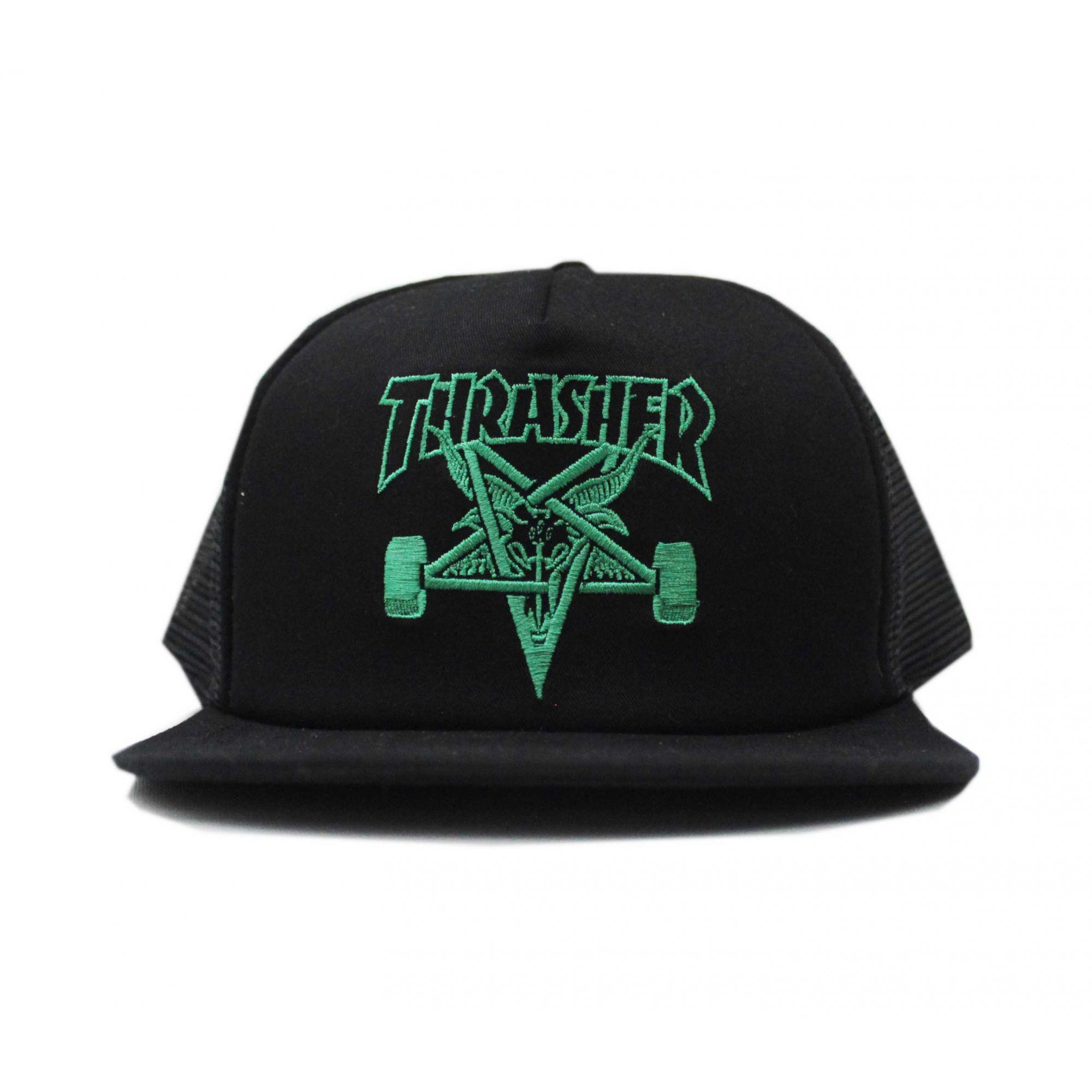 Boné Thrasher Magazine Trucker Skate Goat Mesh Preto/Verde