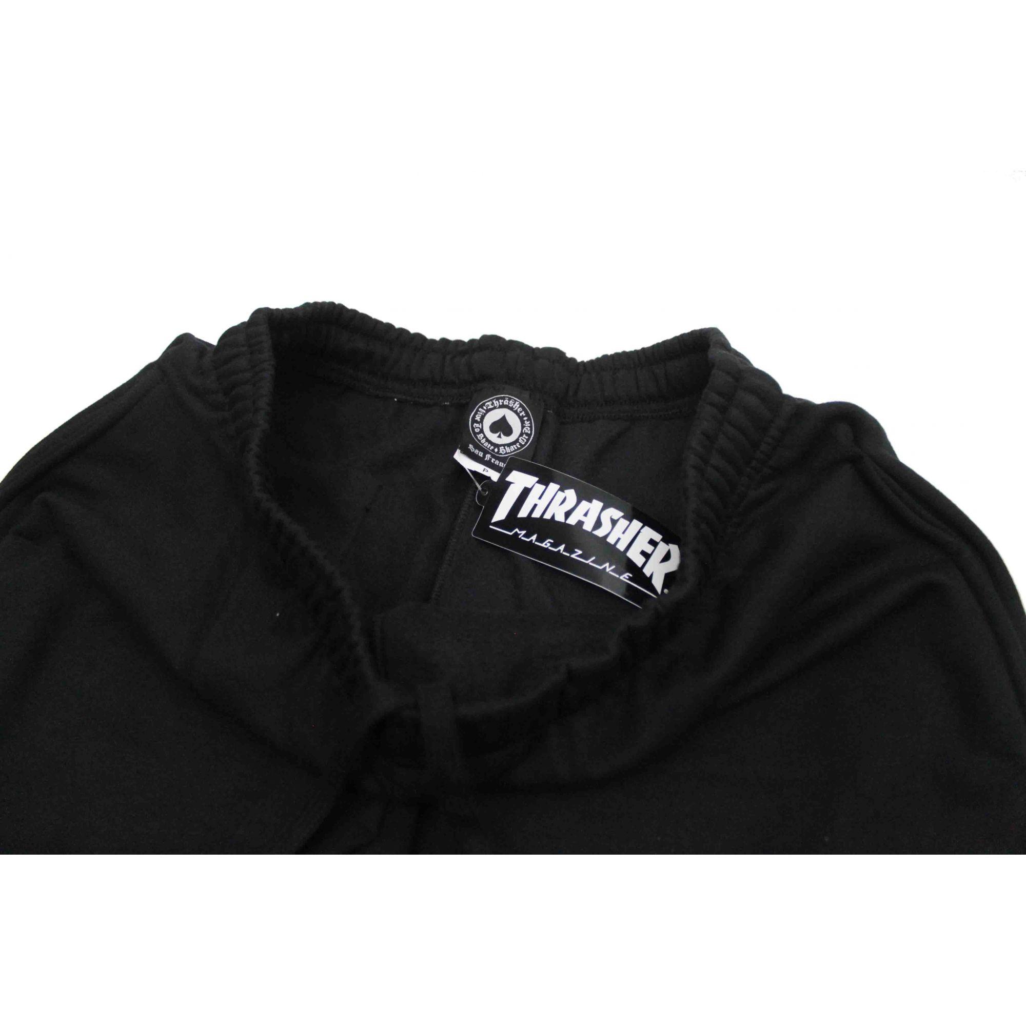 Calça Moletom Thrasher Magazine Classic Flame Black