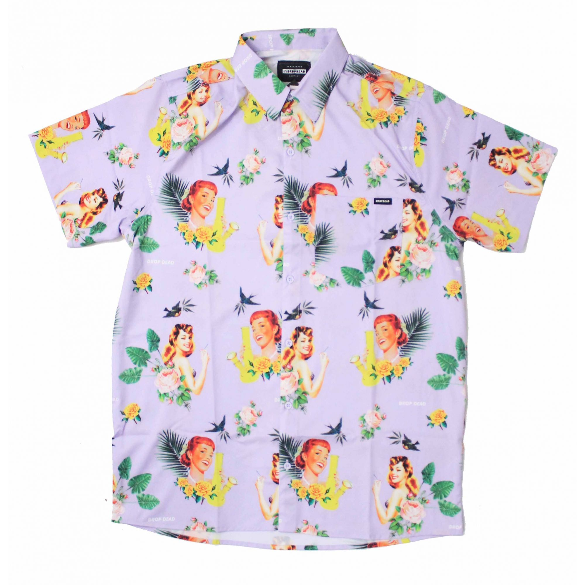 Camisa Drop Dead Tropical Floral Roxo