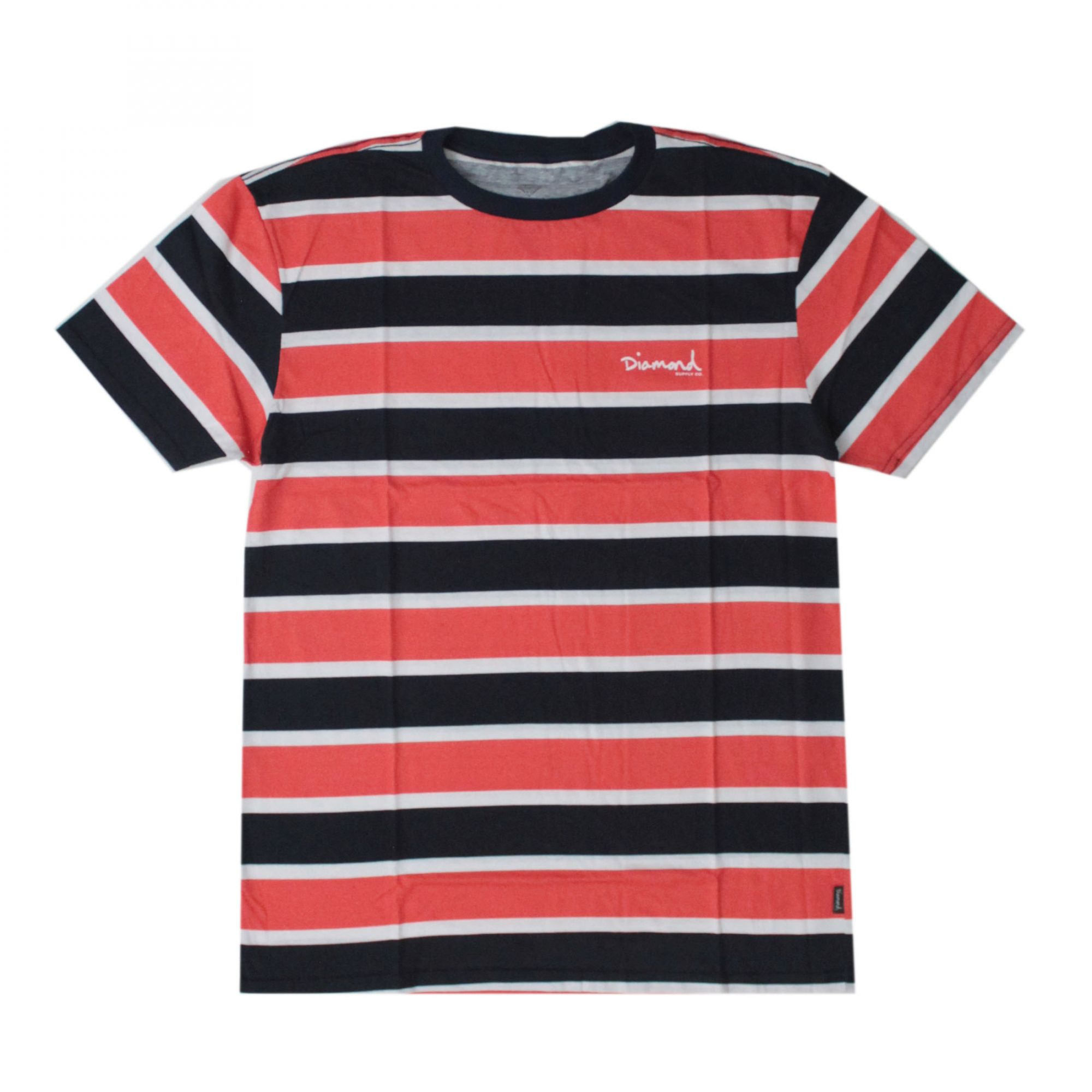 Camiseta Diamond Mini Og Script Striped Tee Vermelho/Azul Marinho