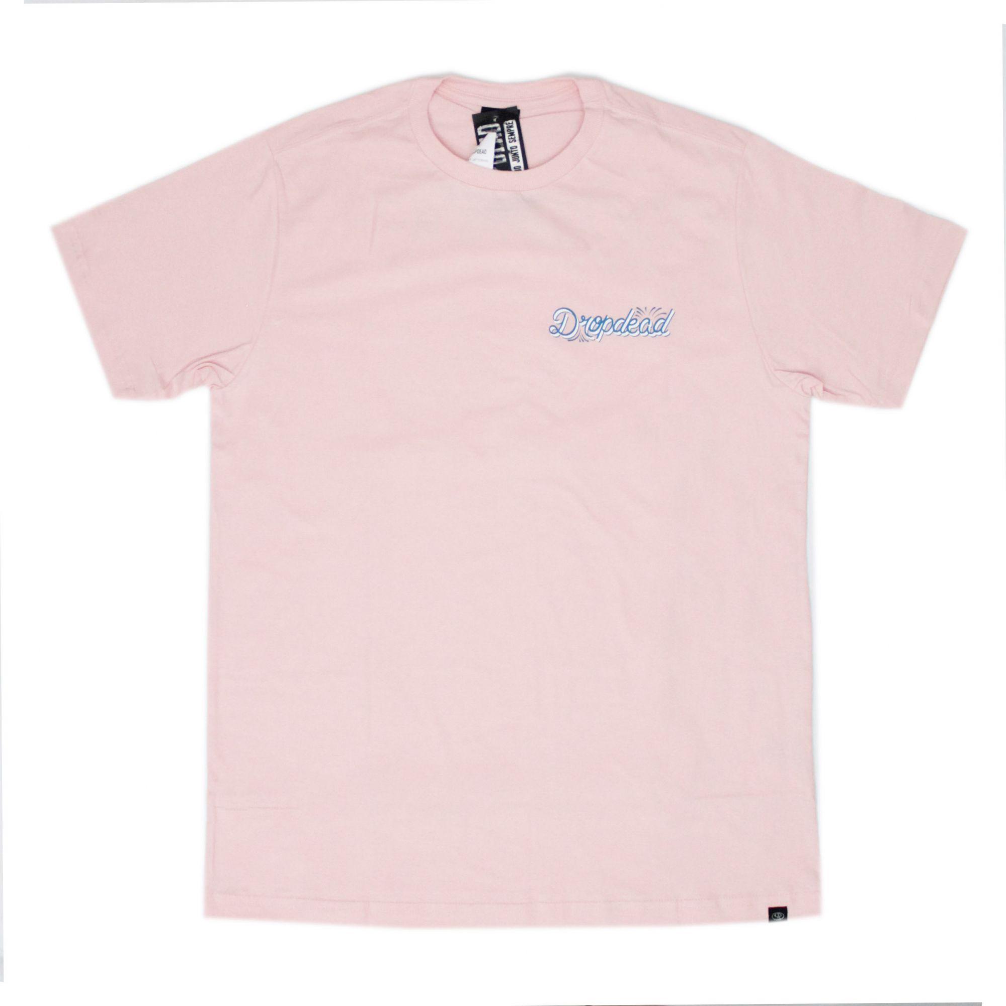 Camiseta Drop Dead Lettering Rosa Claro
