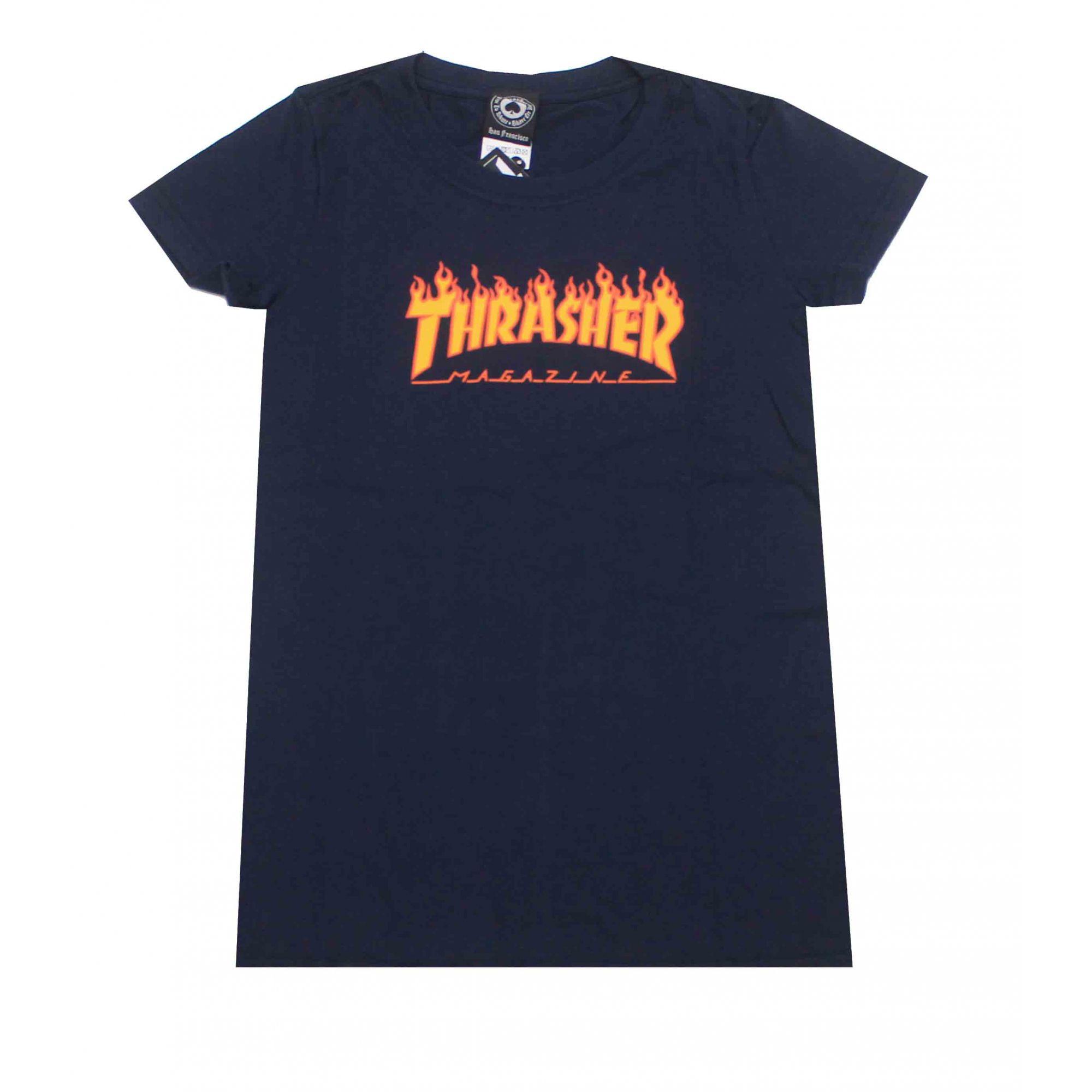 Camiseta Feminina Thrasher Magazine Classic Flame Blue Navy
