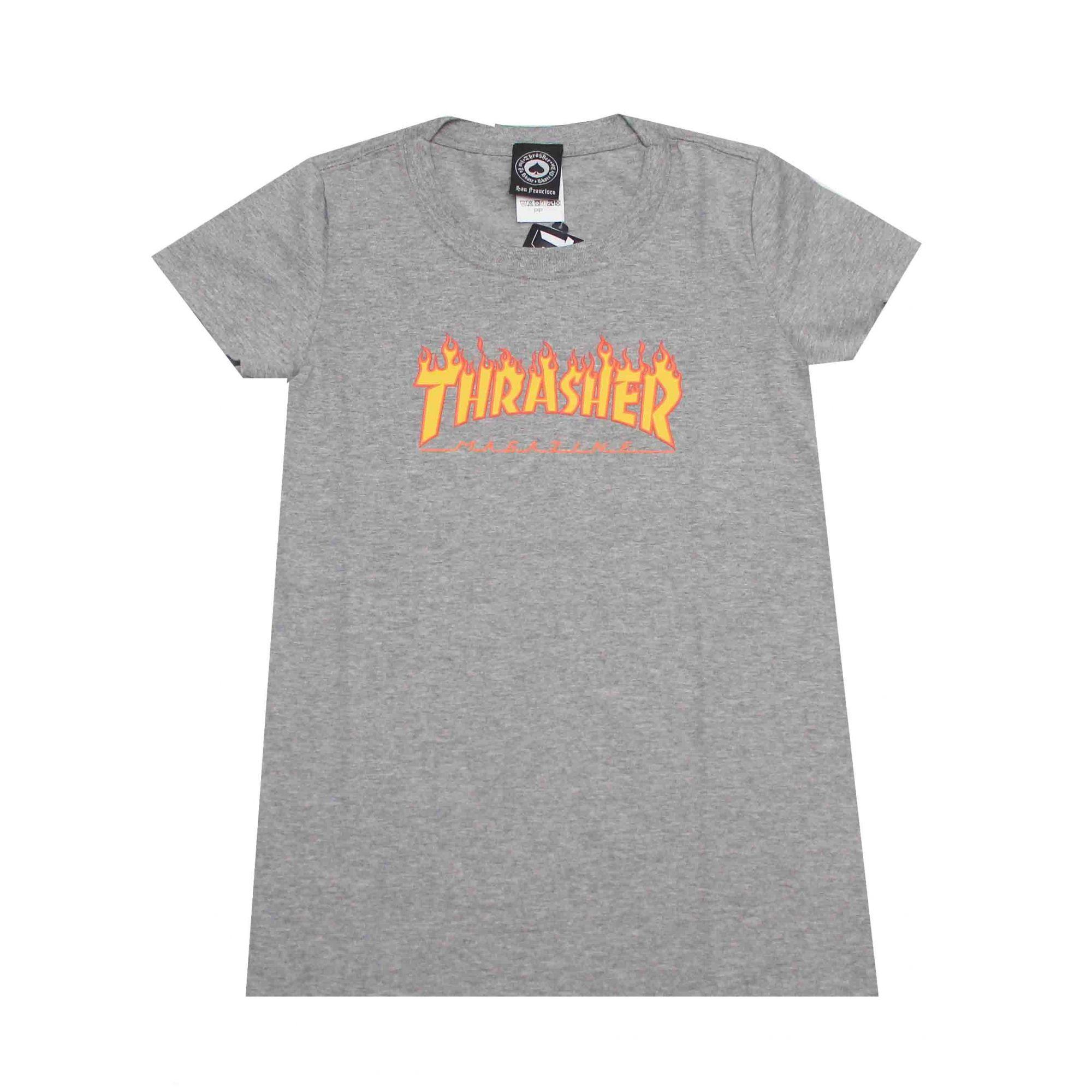 Camiseta Feminina Thrasher Magazine Classic Flame Grey