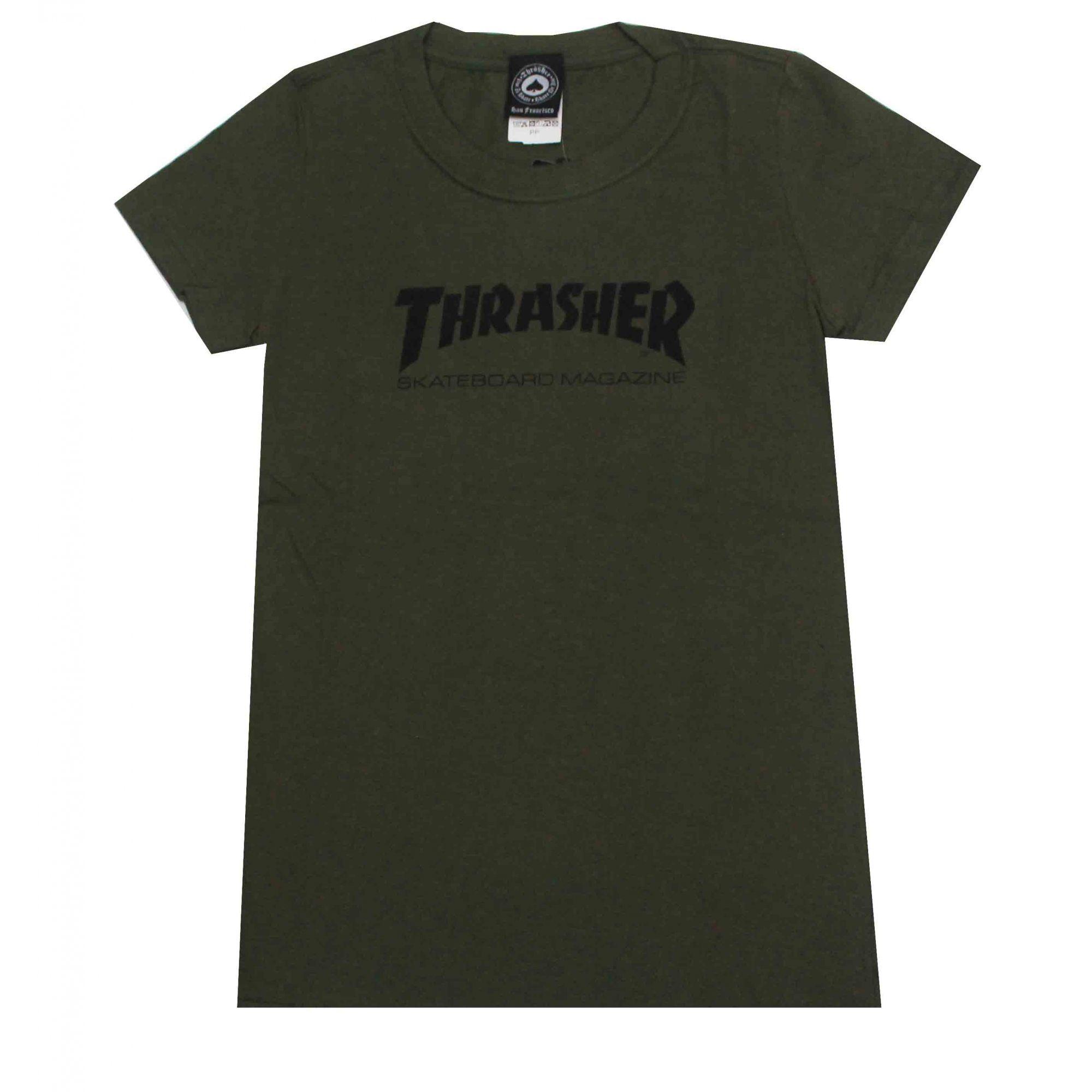Camiseta Feminina Thrasher Magazine Skate Mag Military Green
