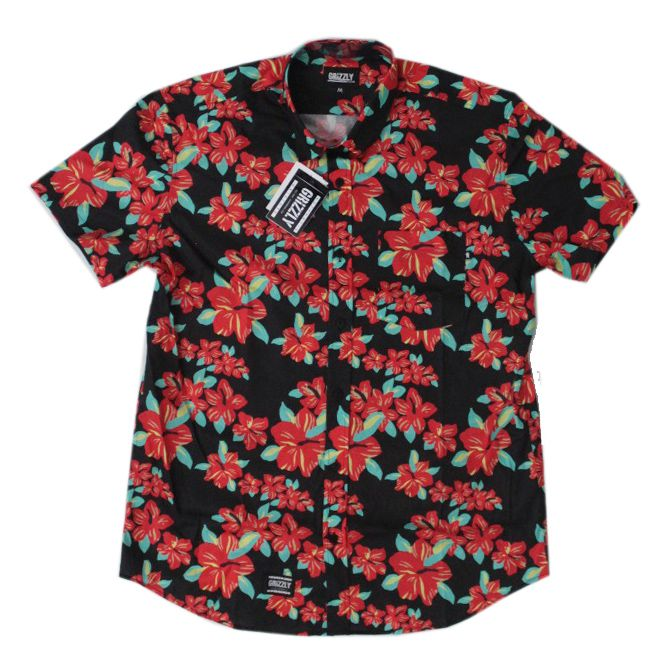 Camiseta Grizzly Button-Up Floral Preto