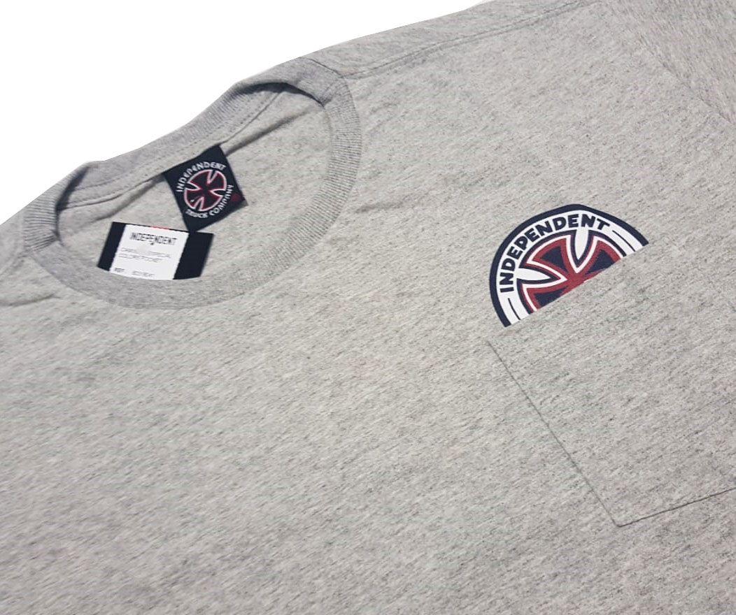 Camiseta Independent Especial Colors Pocket Cinza Mescla
