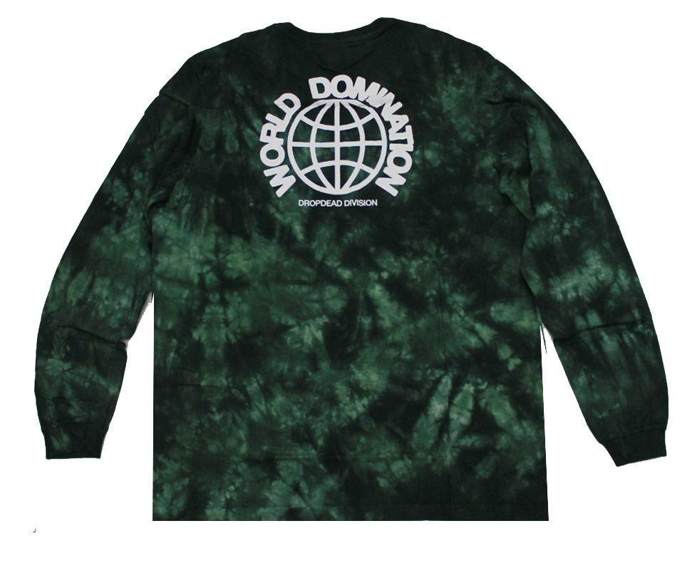 Camiseta Manga Longa Drop Dead World Tie Dye Green