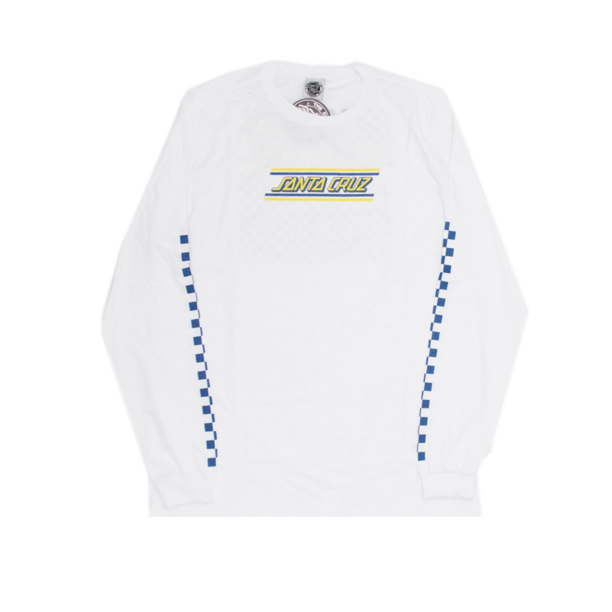 Camiseta Manga Longa Santa Cruz Check Strip Hue Branco