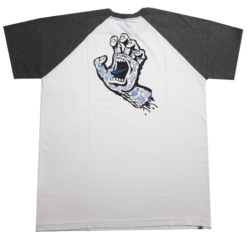 Camiseta Santa Cruz Raglan Tattoo Hand Baseball White/Grey