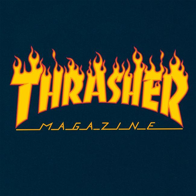 Camiseta Thrasher Magazine Classic Flame Blue Navy