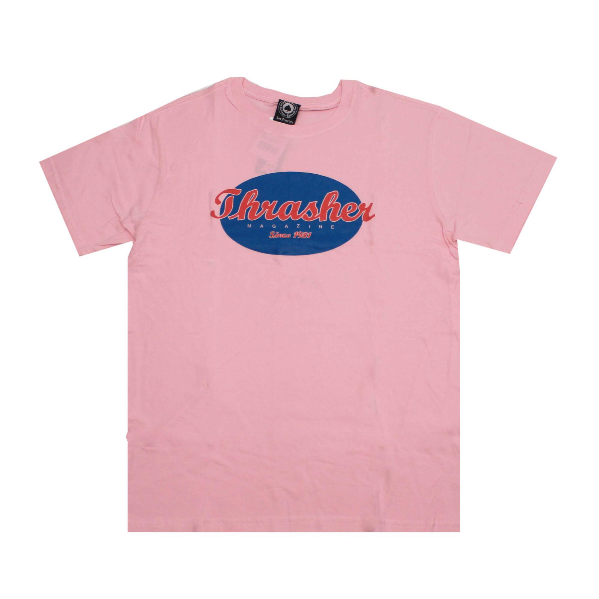 Camiseta Thrasher Magazine Oval Script Rosa