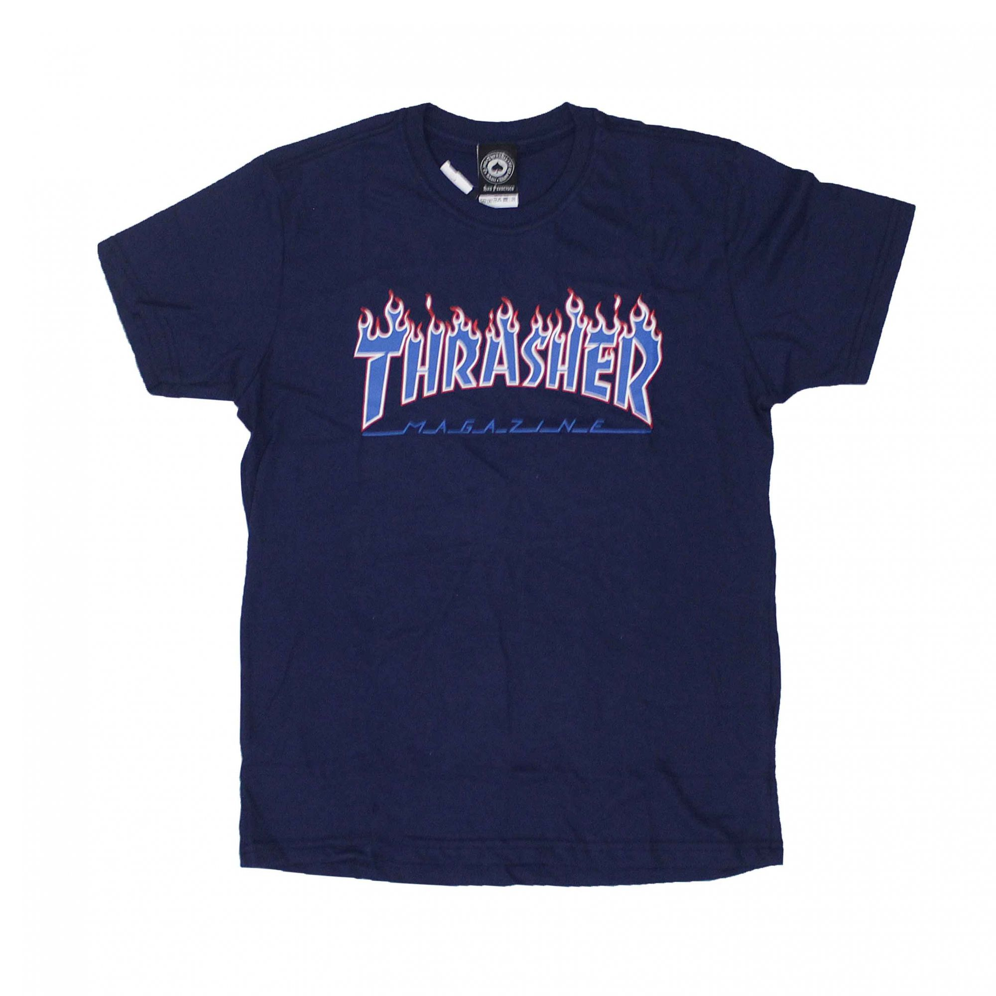 Camiseta Thrasher Magazine Patriot Flame Azul Marinho