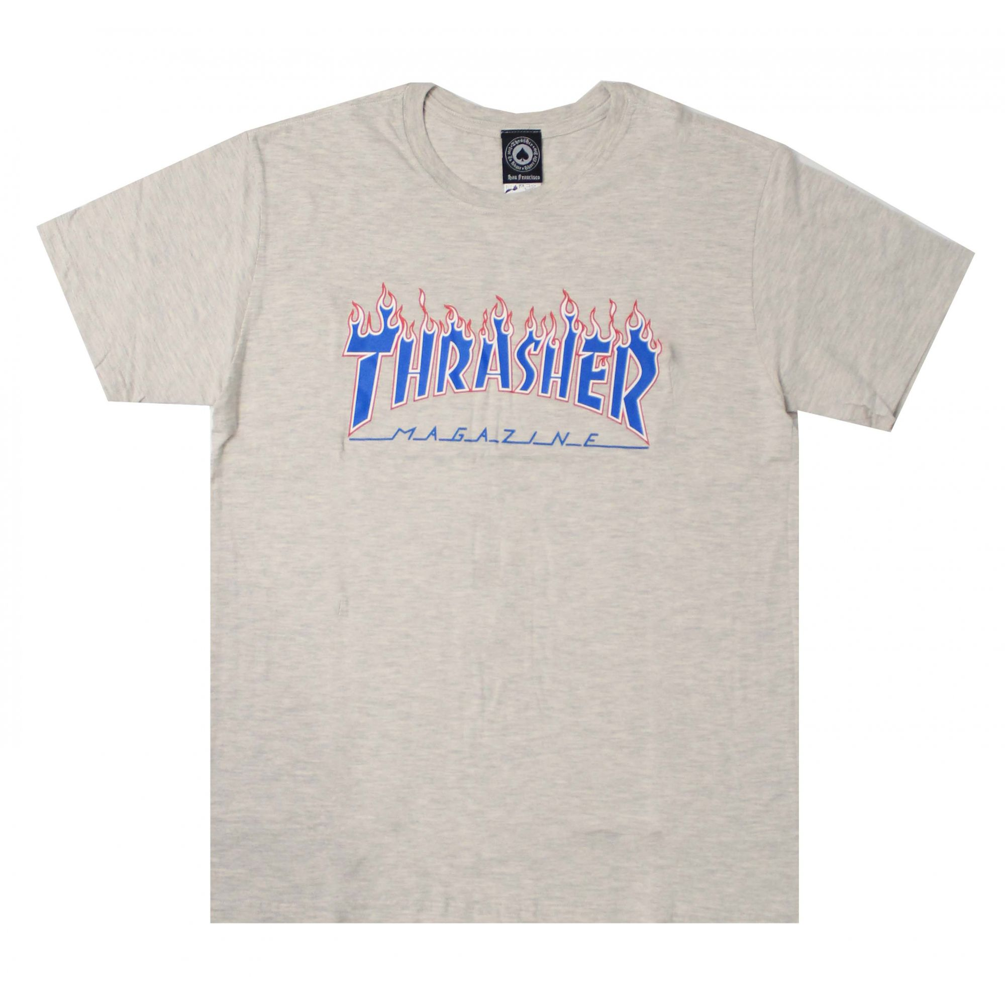Camiseta Thrasher Magazine Patriot Flame Branco Mescla