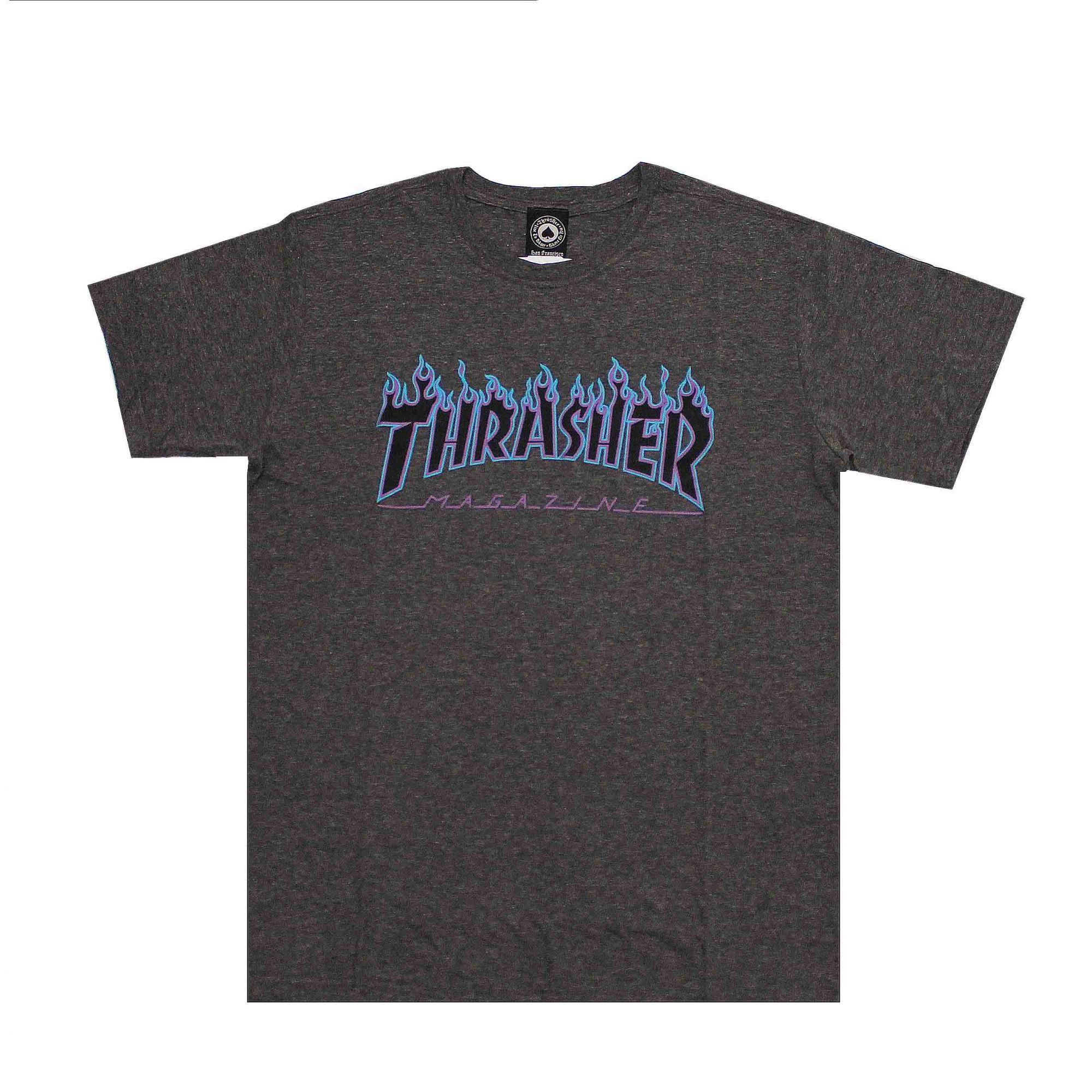 Camiseta Thrasher Magazine Purple Flame Cinza Chumbo