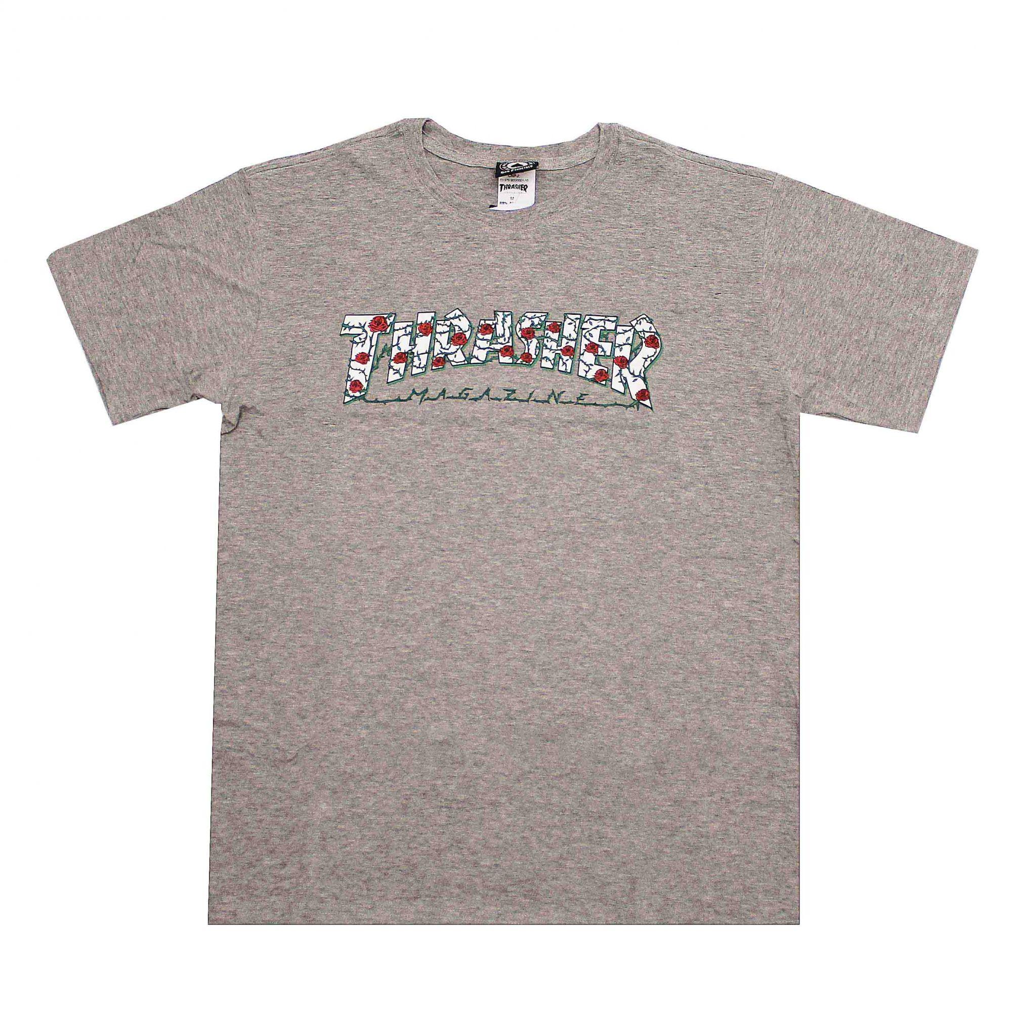 Camiseta Thrasher Magazine Roses Cinza Mescla
