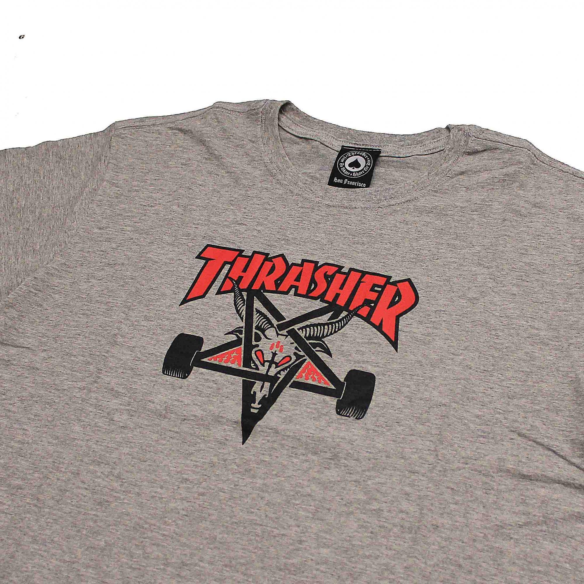 Camiseta Thrasher Magazine Two Tone Skate Goat Cinza Mescla