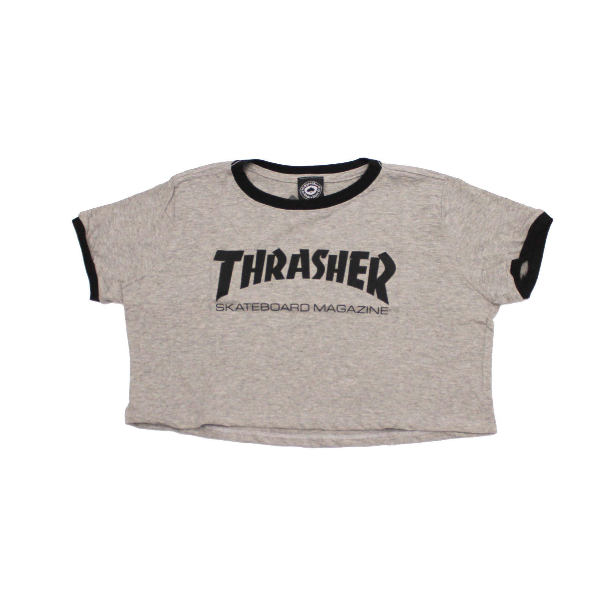 Cropped Thrasher Magazine Skate Mag Cinza Mescla