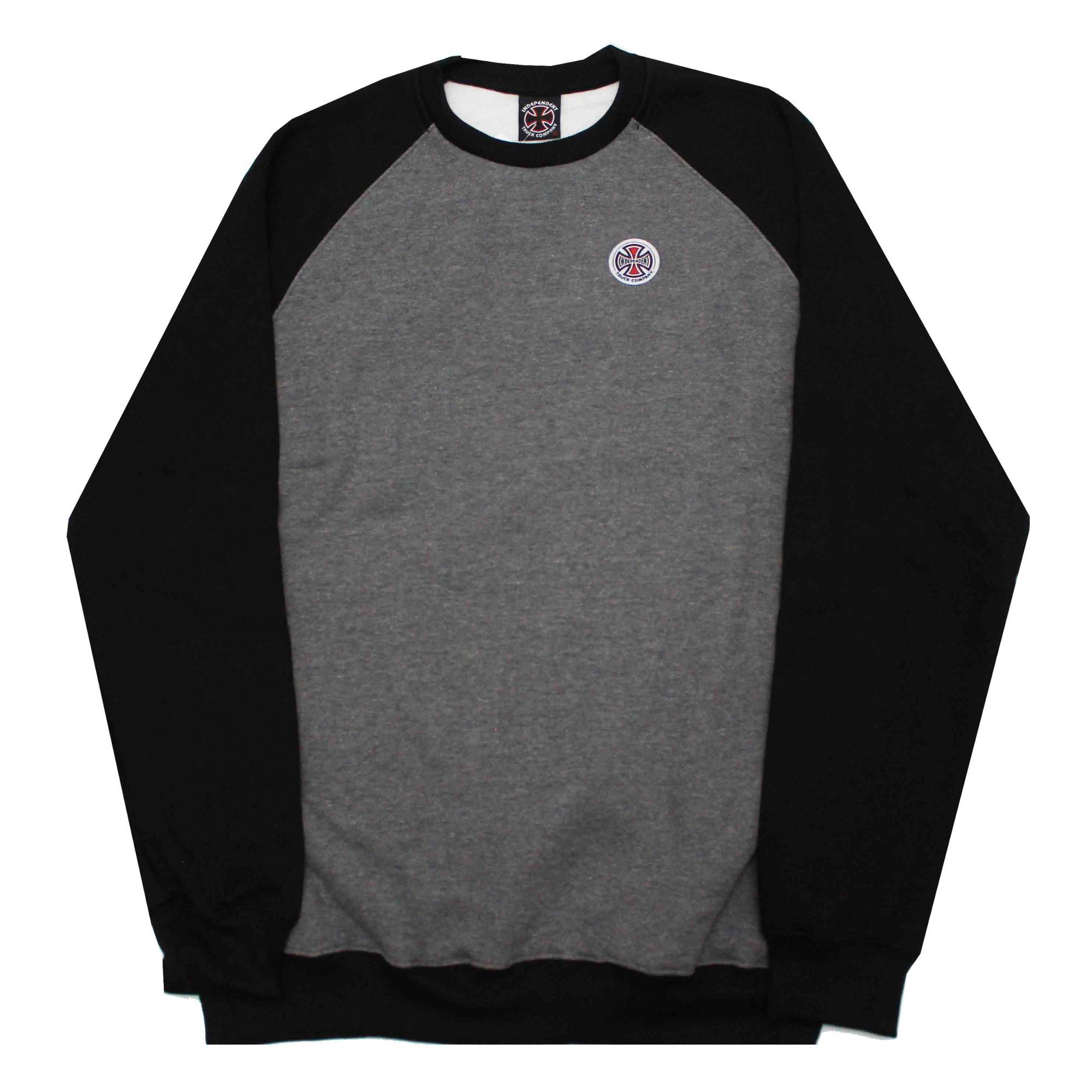 Moletom Independent Crewneck Raglan Truck co Bottom Cinza Chumbo/Preto